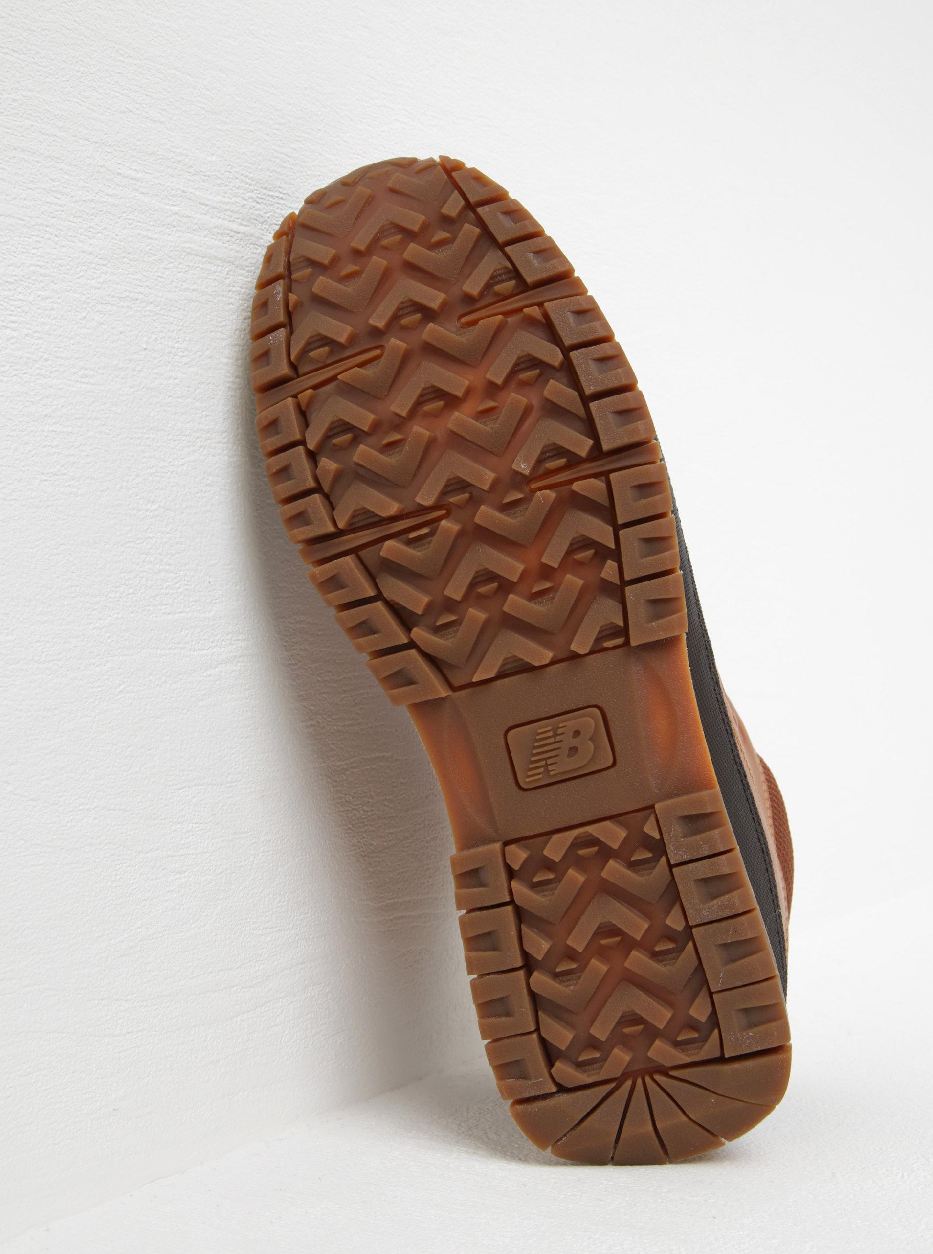Hnedé pánske kožené členkové tenisky New Balance ... b47d443a807
