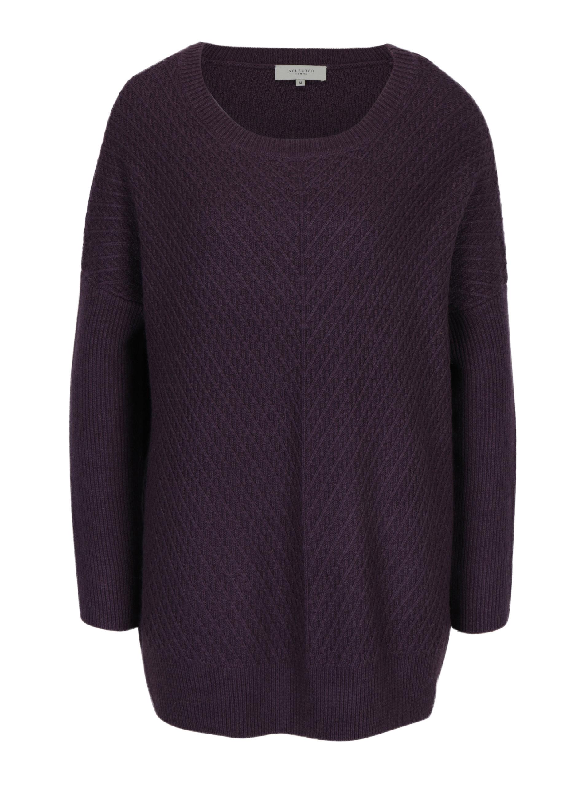 ef2bab15d2d6 Fialový dlhý vlnený sveter Selected Femme Rille ...
