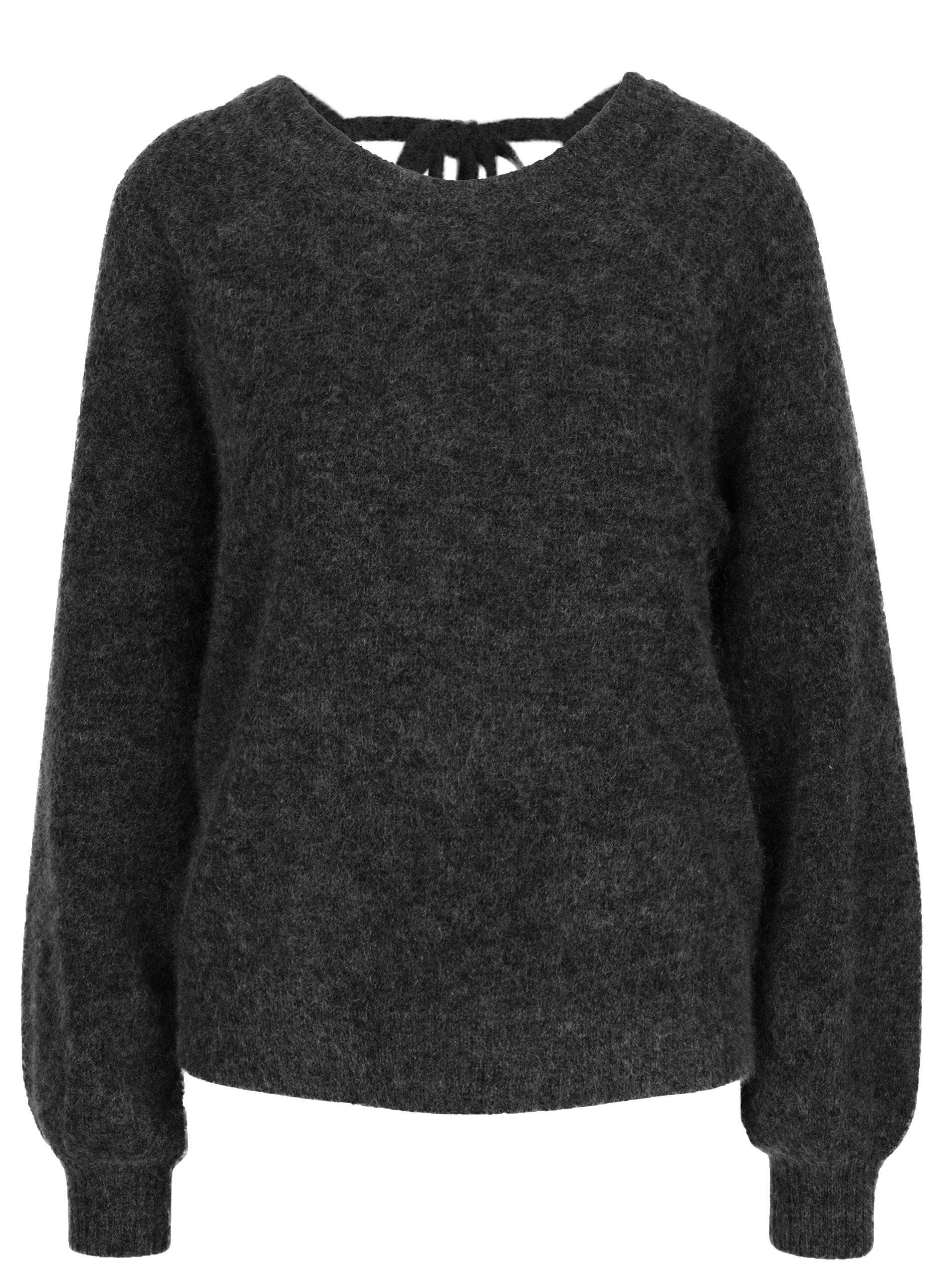 412920a78f30 Tmavosivý melírovaný vlnený sveter s prímesou mohéru Selected Femme Kaila  ...