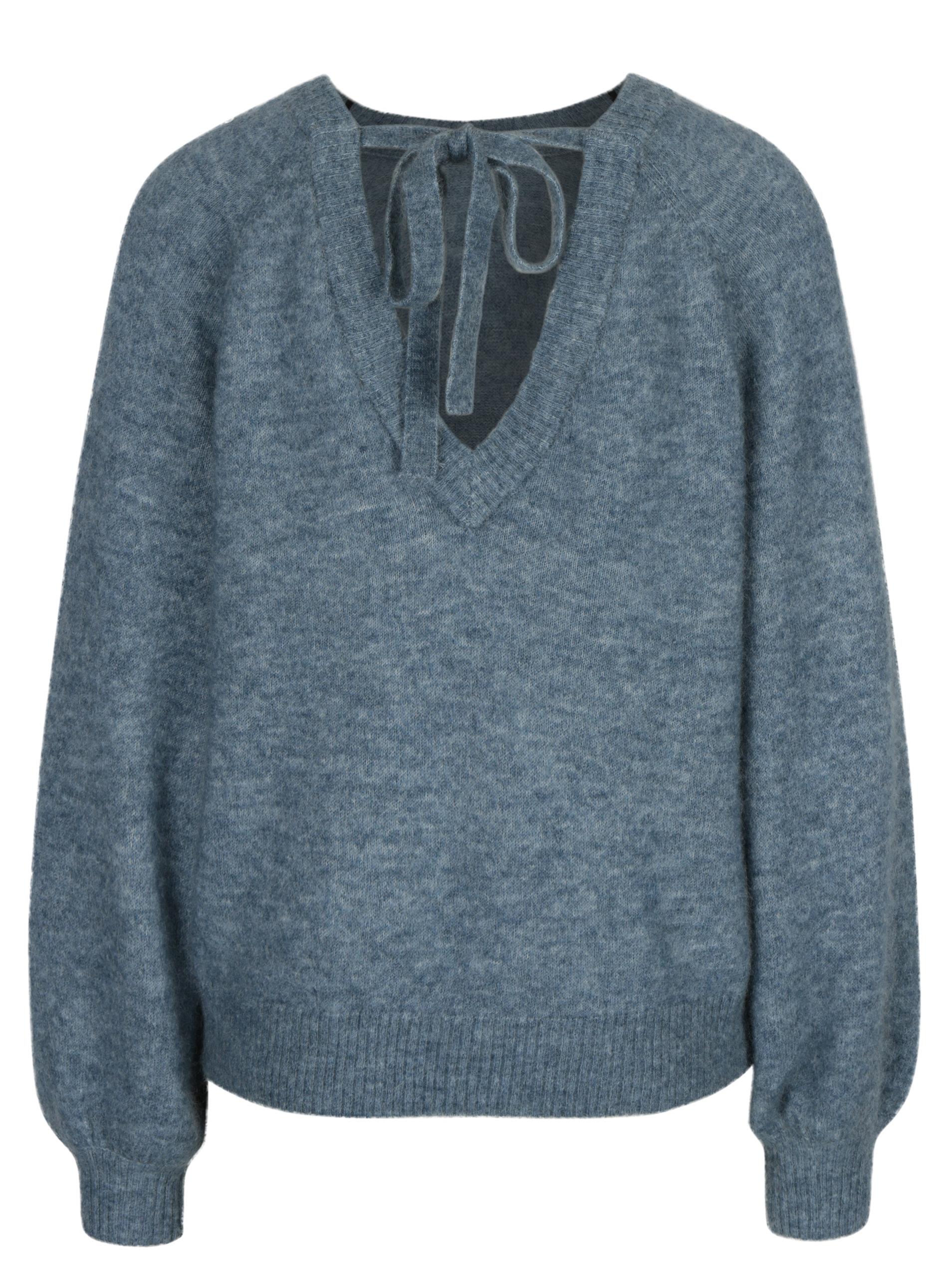 463423a2c367 Modrý melírovaný vlnený sveter s prímesou mohéru Selected Femme Kaila ...