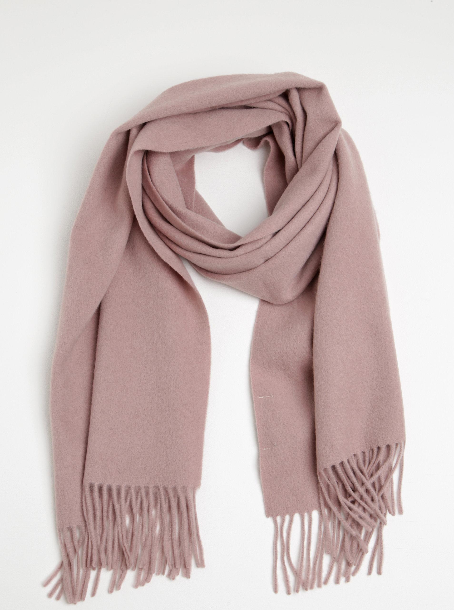 Světle růžová vlněná šála s příměsí kašmíru Selected Femme Avia ... abd648fb90