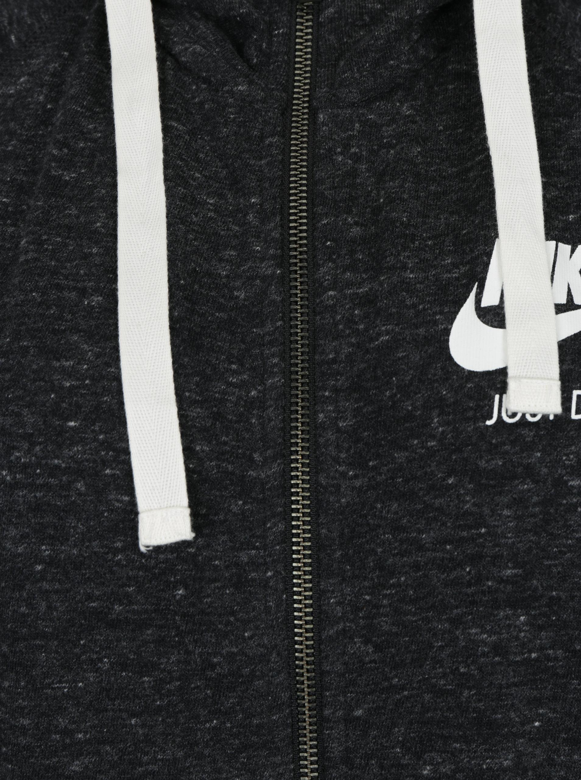 Černá dámská žíhaná mikina s kapucí Nike Sportswear Gym ... 2ed259dd2c3