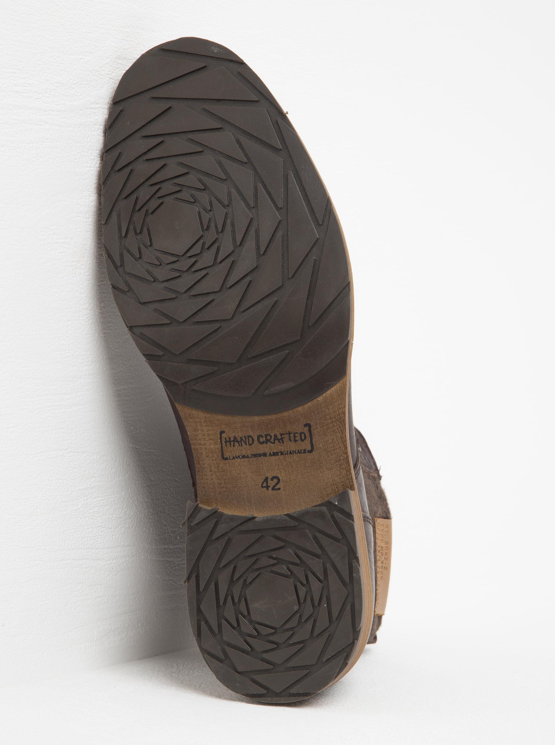 ed5ed4dd67 Hnedé pánske kožené členkové topánky s textilnou vsadkou Bullboxer ...