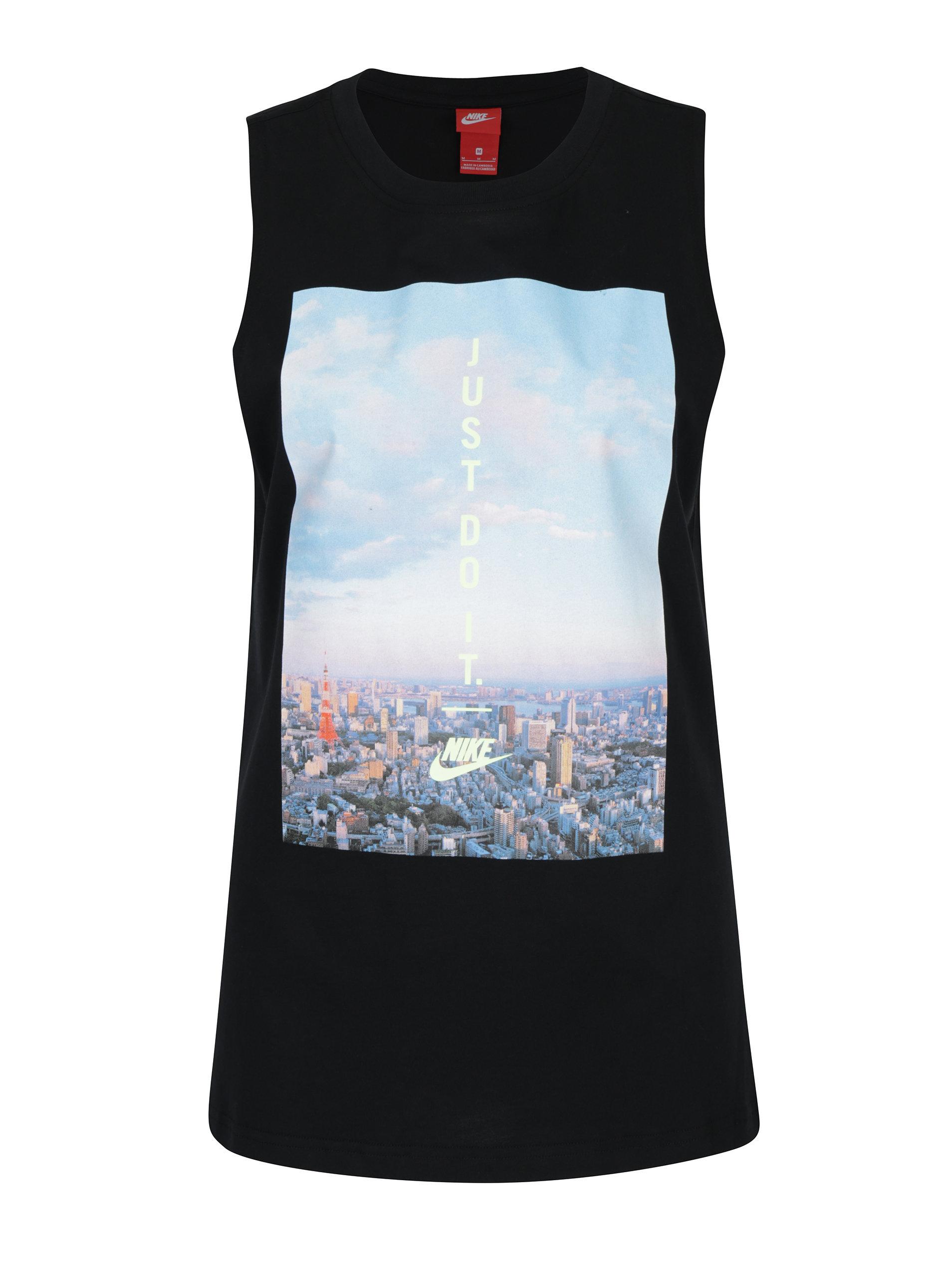 b87637021f57 Čierne dámske tielko s potlačou Nike Sportswear Sky ...