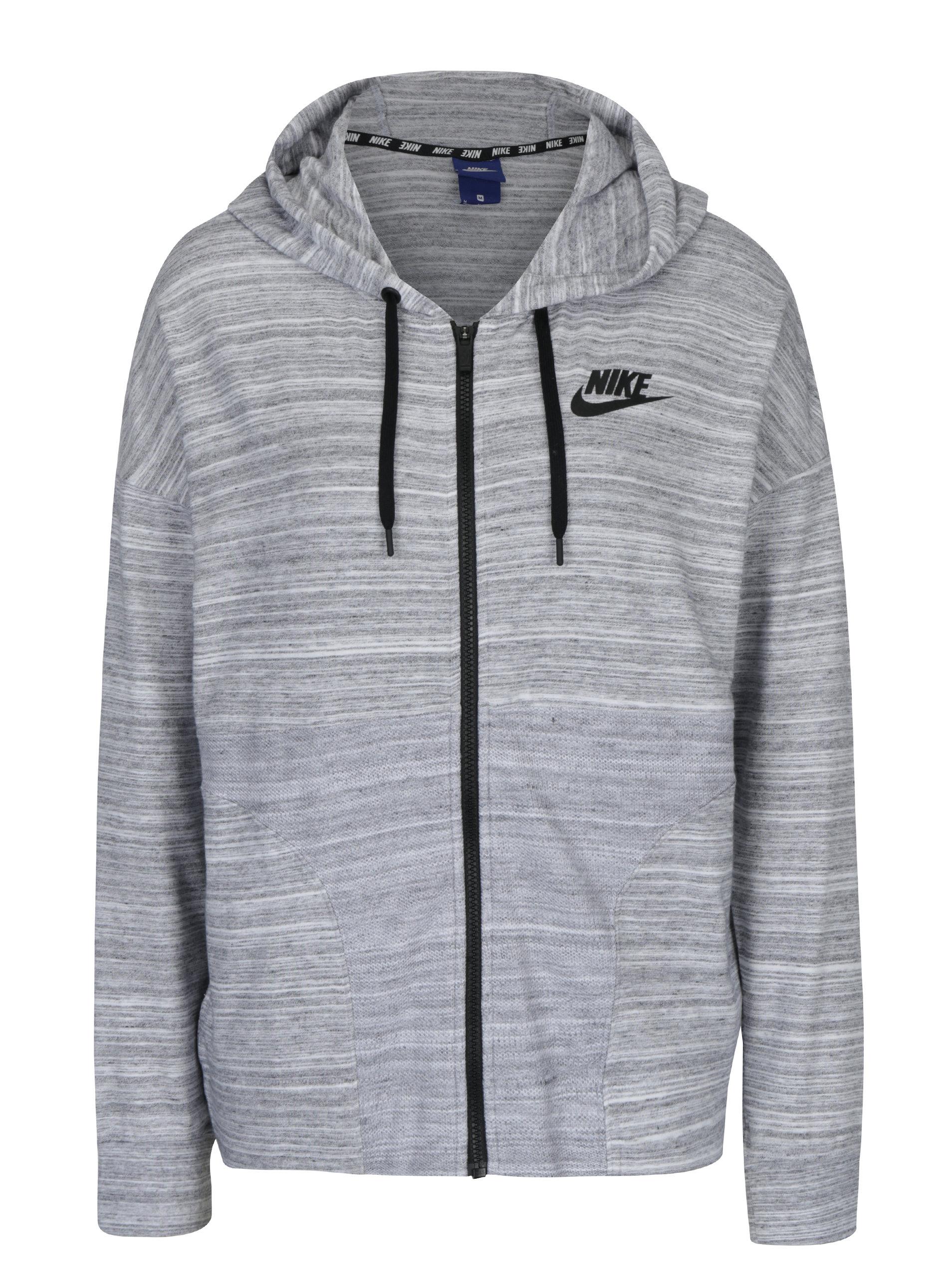 2da7308cf40 Světle šedá dámská žíhaná mikina s kapucí Nike Sportswear Advance 15 ...