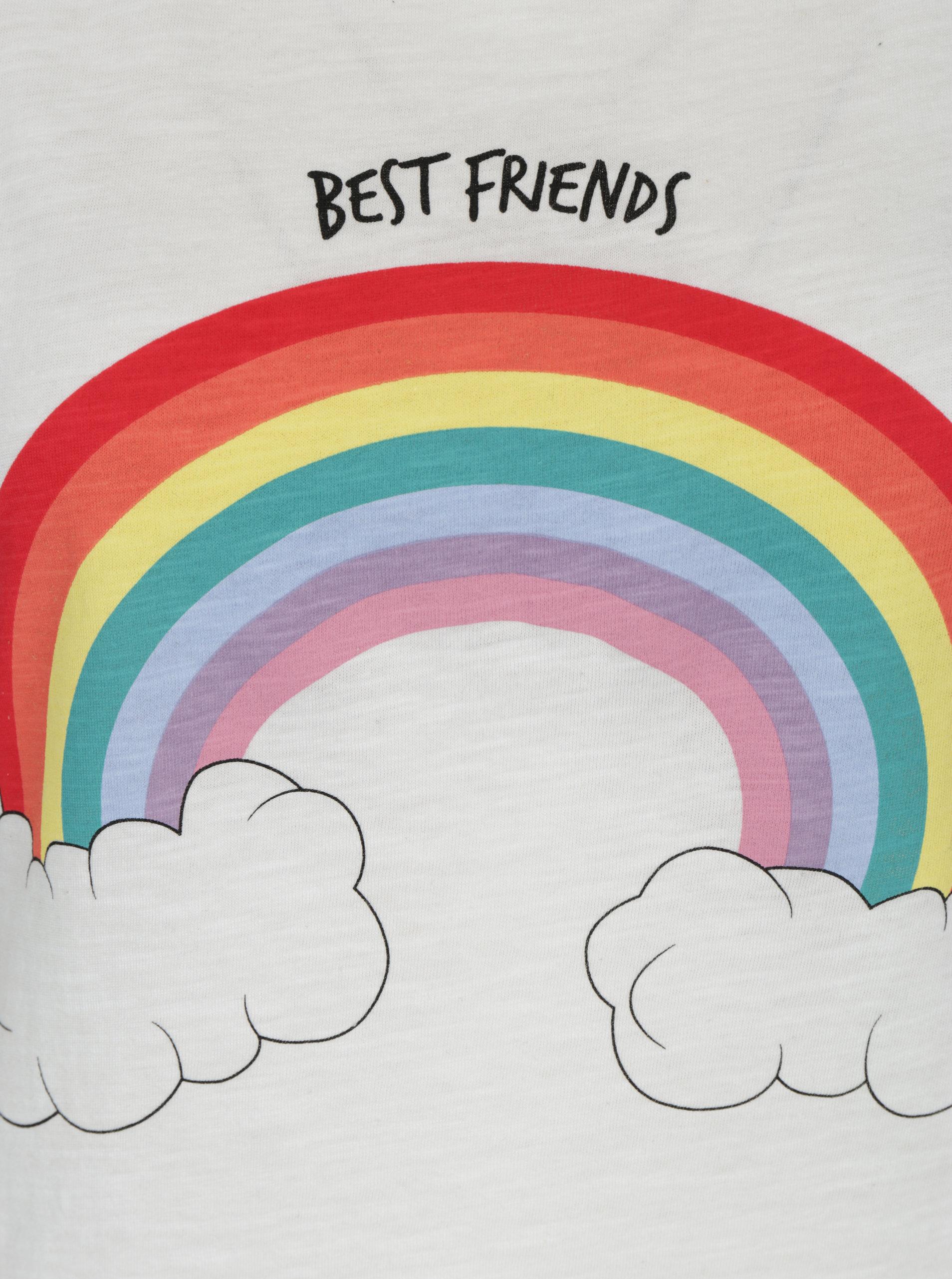 Krémové tričko s krátkým rukávem a potiskem ONLY Bone Best Friends ... b1444a9683