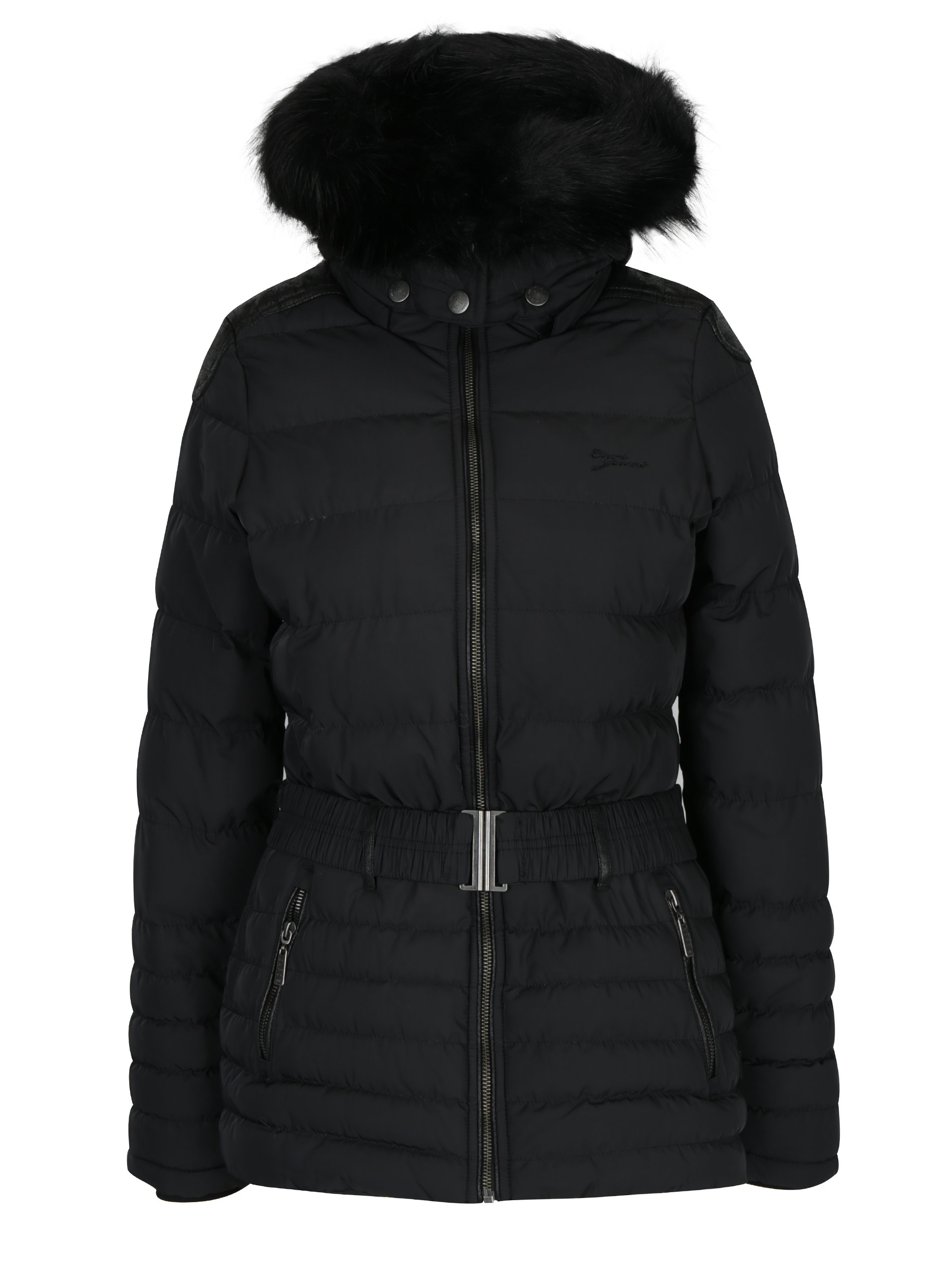 Čierny dámsky krátky prešívaný kabát s kapucňou a opaskom Cars Cler ... da051e71a14