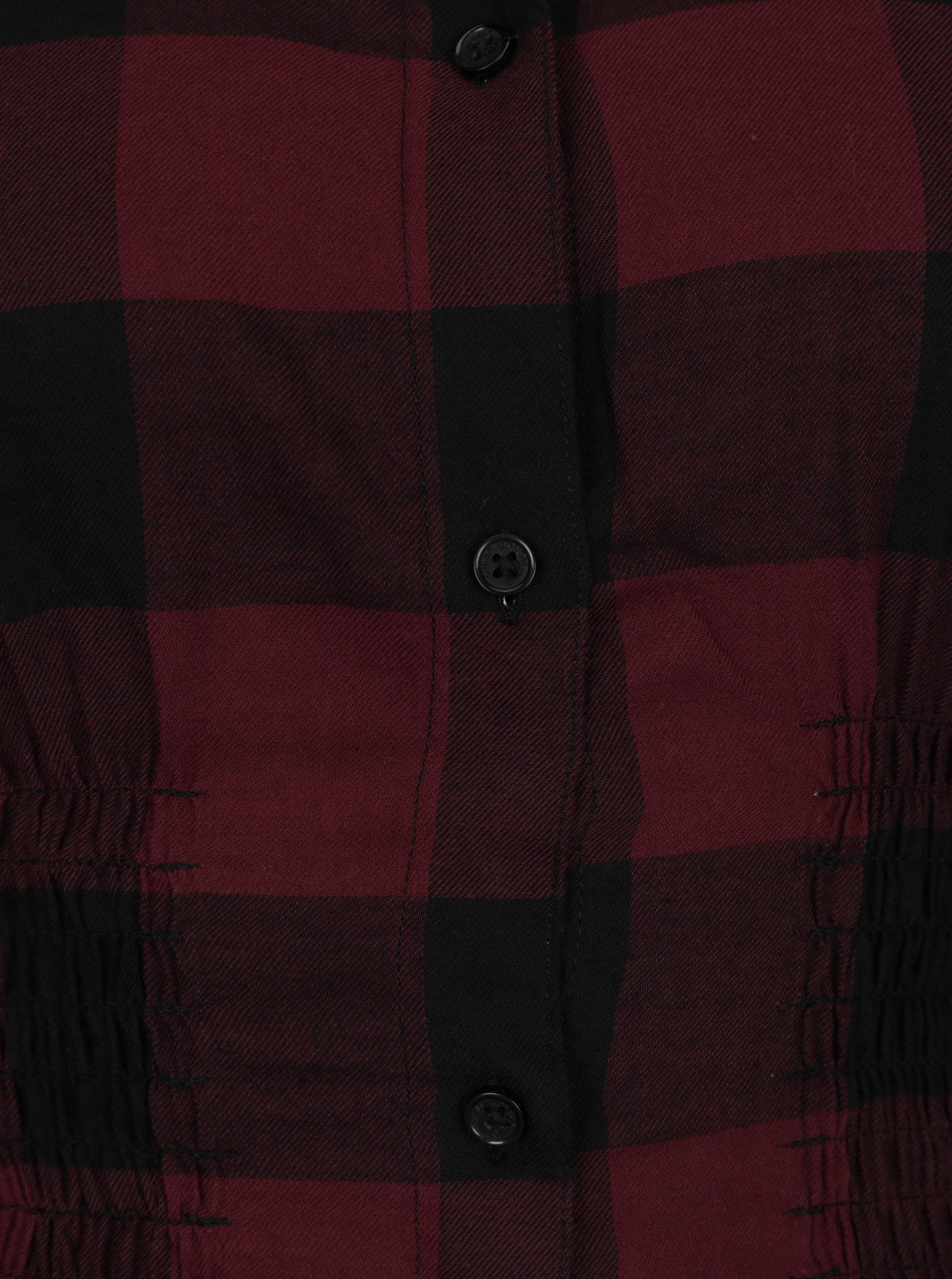 ca76df5a406d Čierno-vínové kárované košeľové šaty so zberkaním Cheap Monday ...