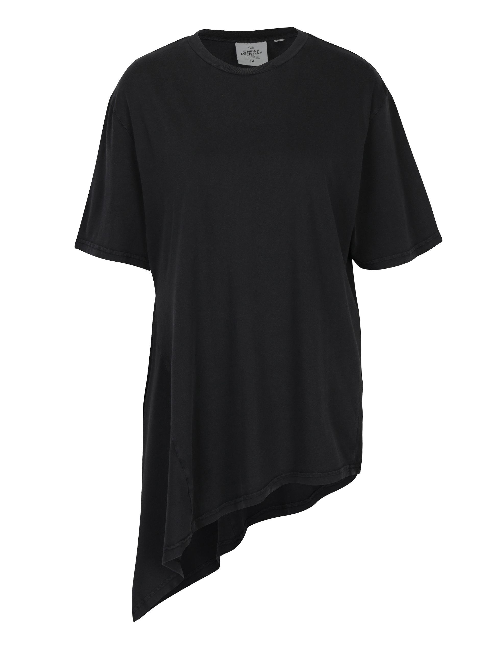 cf826176948 Tmavě šedé dámské volné asymetrické tričko Cheap Monday ...