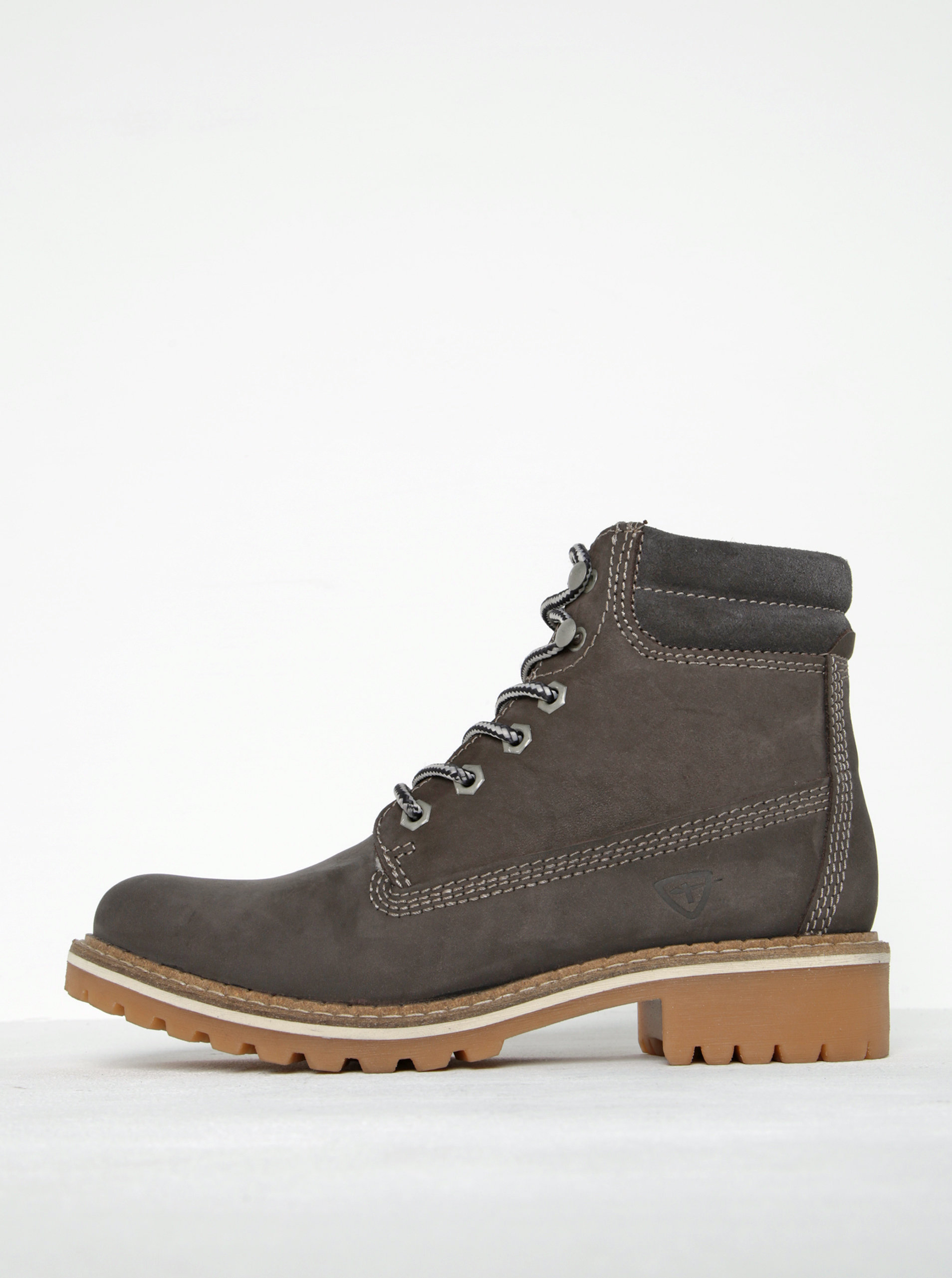 Hnědé kožené kotníkové boty Tamaris ... 193da32045