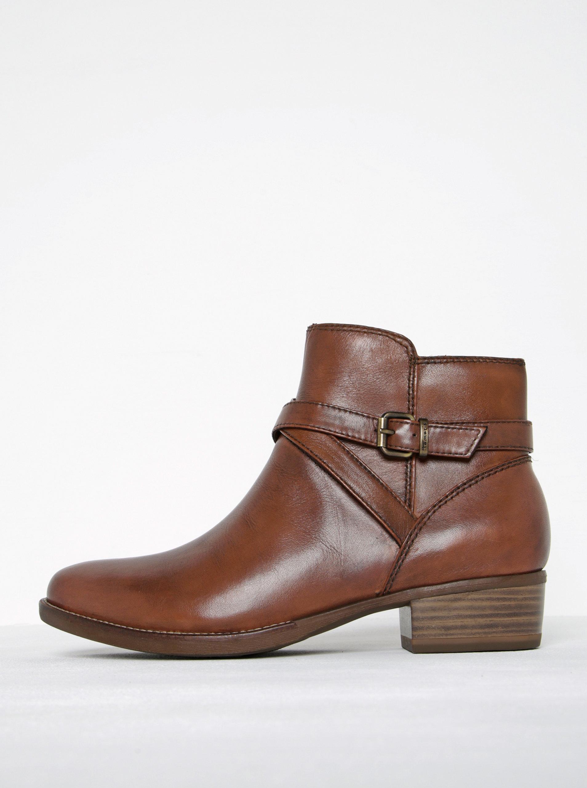 1f326c3602 Hnedé kožené členkové topánky s tenkým remienkom a prackou Tamaris ...
