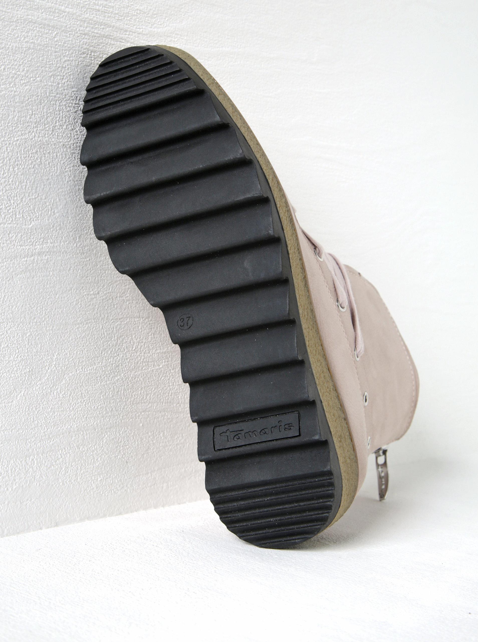 Světle růžové kožené kotníkové boty na platformě Tamaris ... d2524bd1c4