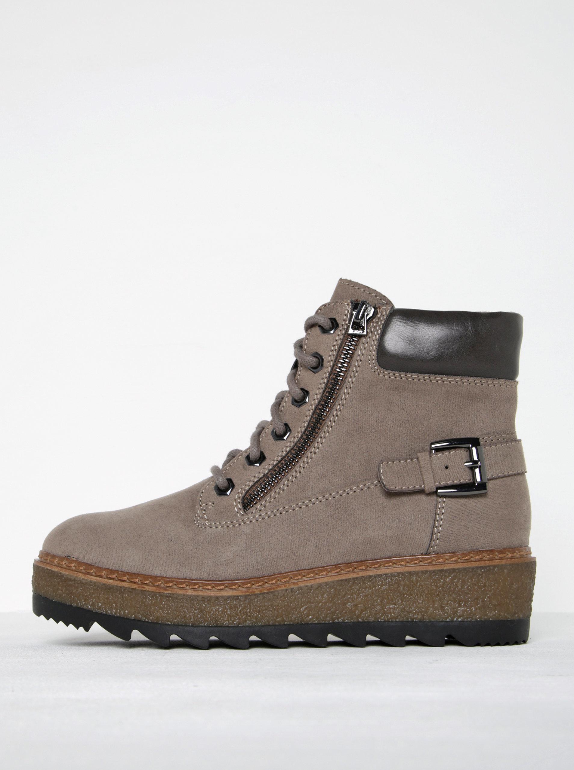 6ed39714b3bb Béžové členkové topánky v semišovej úprave na platforme Tamaris ...