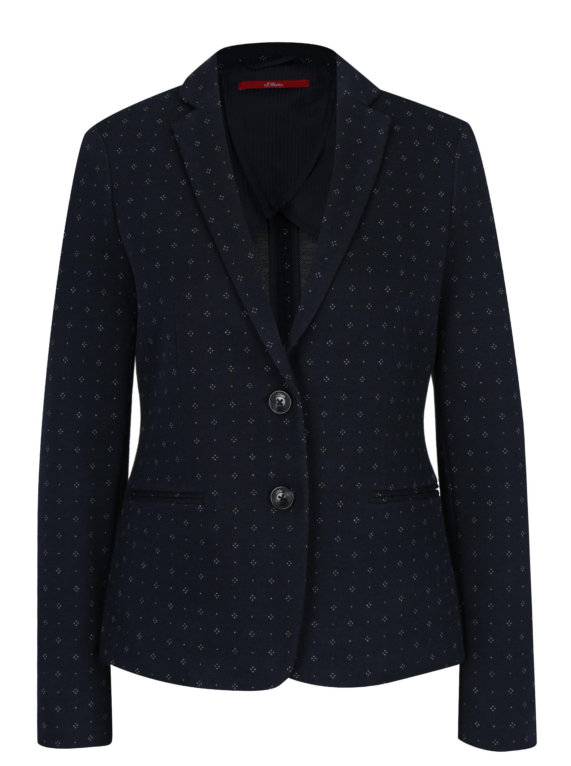 Tmavě modré dámské vzorované sako s.Oliver