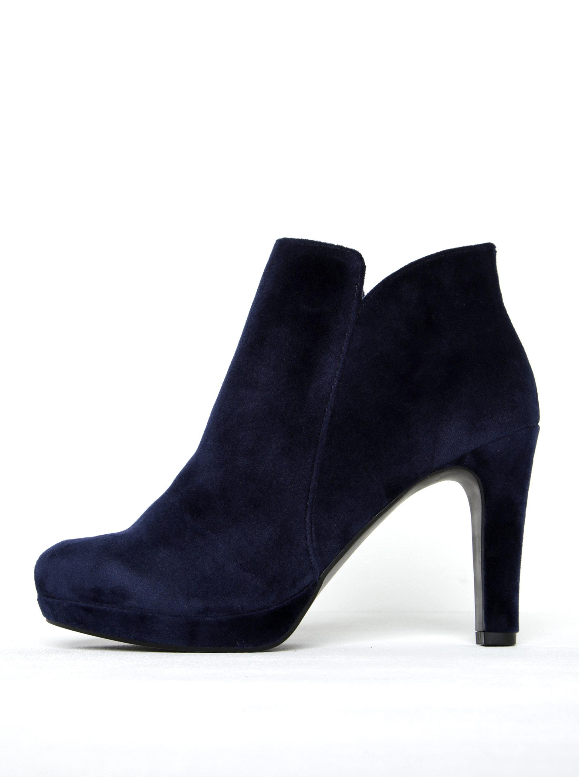 Tmavě modré sametové kotníkové boty na podpatku Tamaris ... 3e9fb78acc
