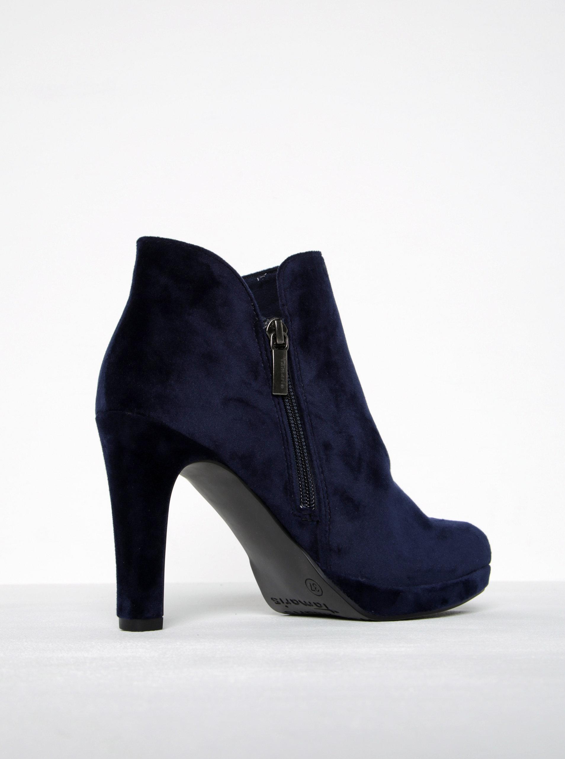 9a58717d4d3 Tmavě modré sametové kotníkové boty na podpatku Tamaris ...