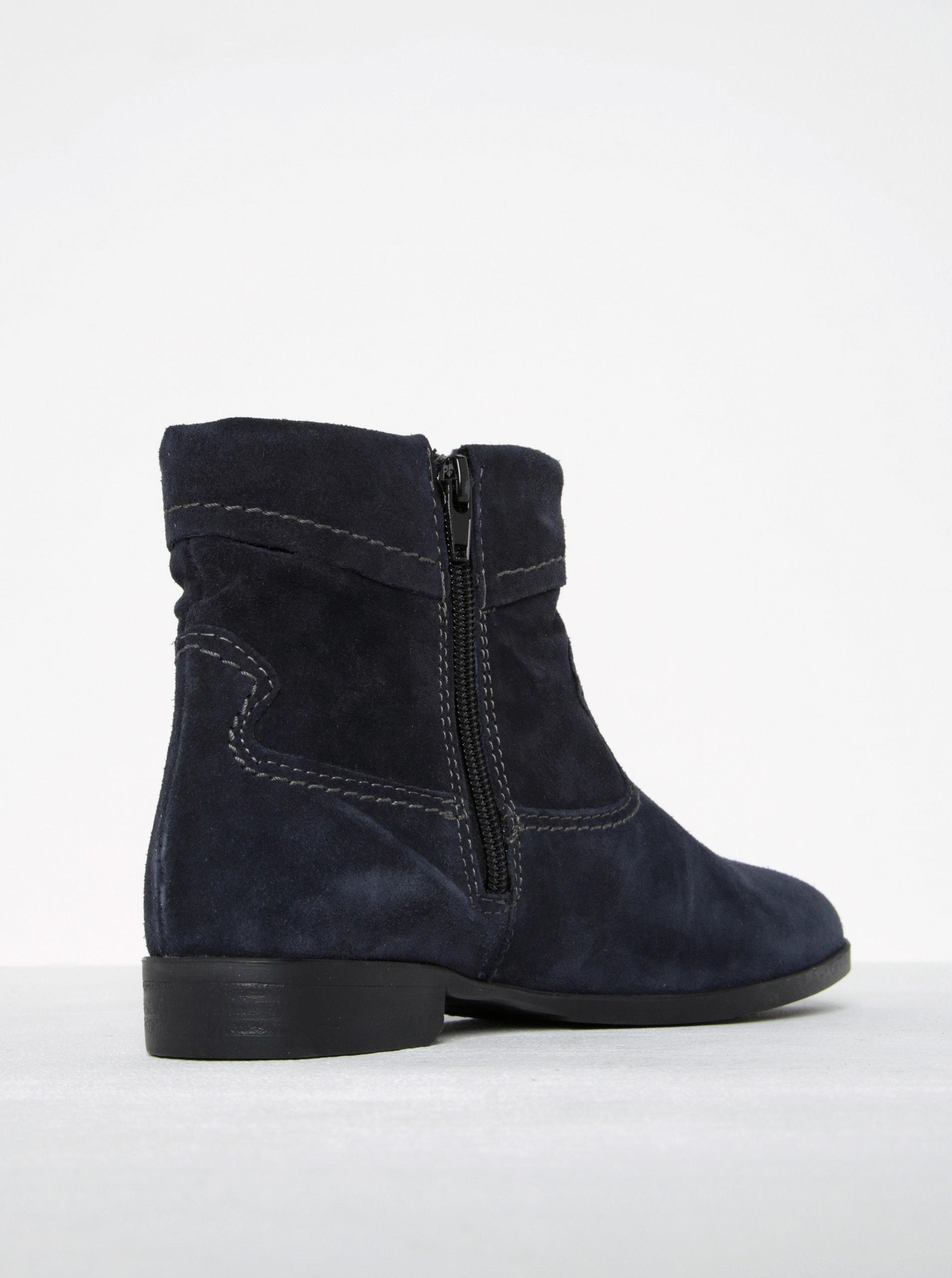 Tmavě modré semišové kotníkové boty s prošívanými detaily Tamaris ... 503697fe5d