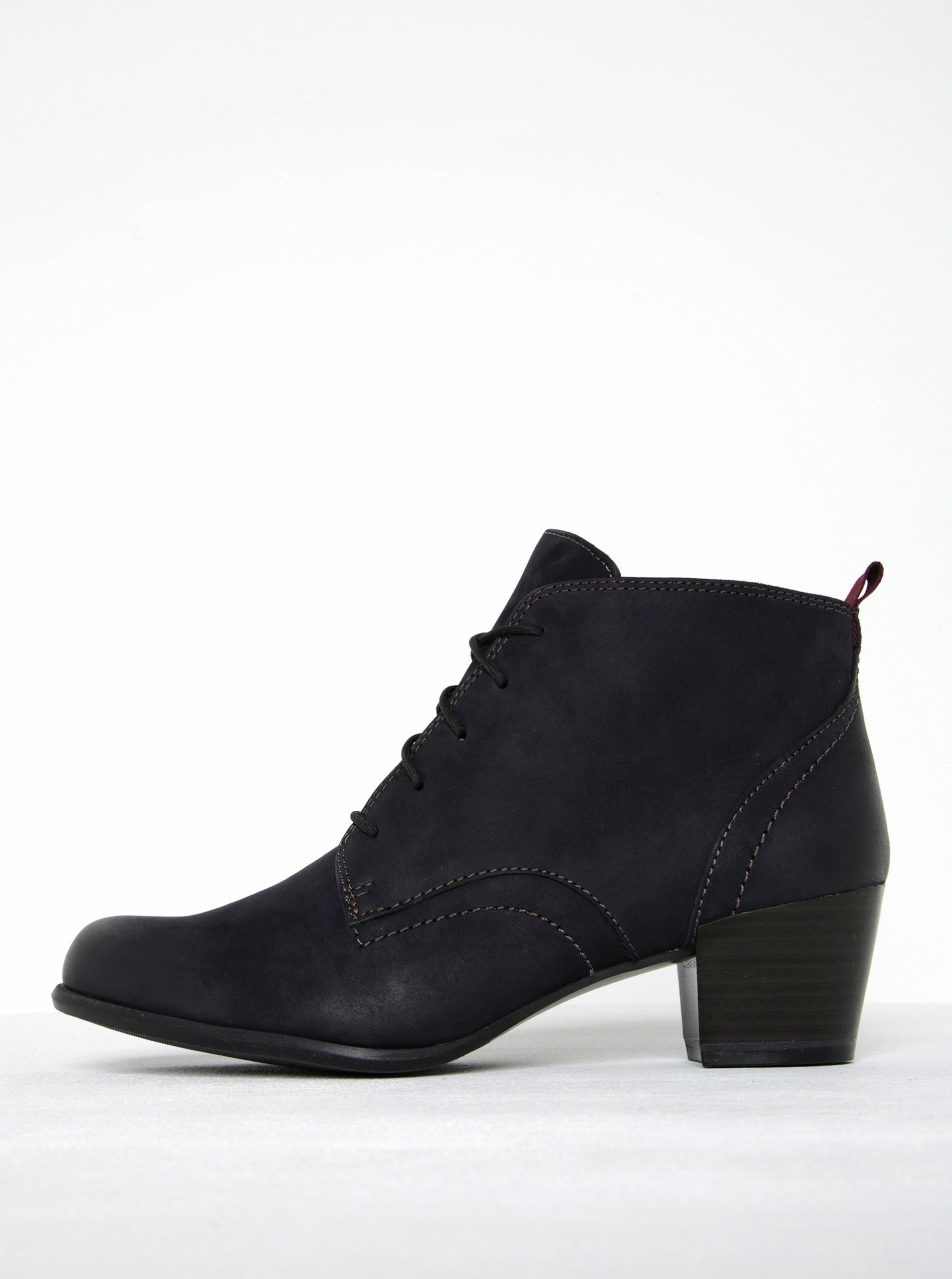 e838793da4d Tmavě modré kožené kotníkové boty na podpatku Tamaris ...