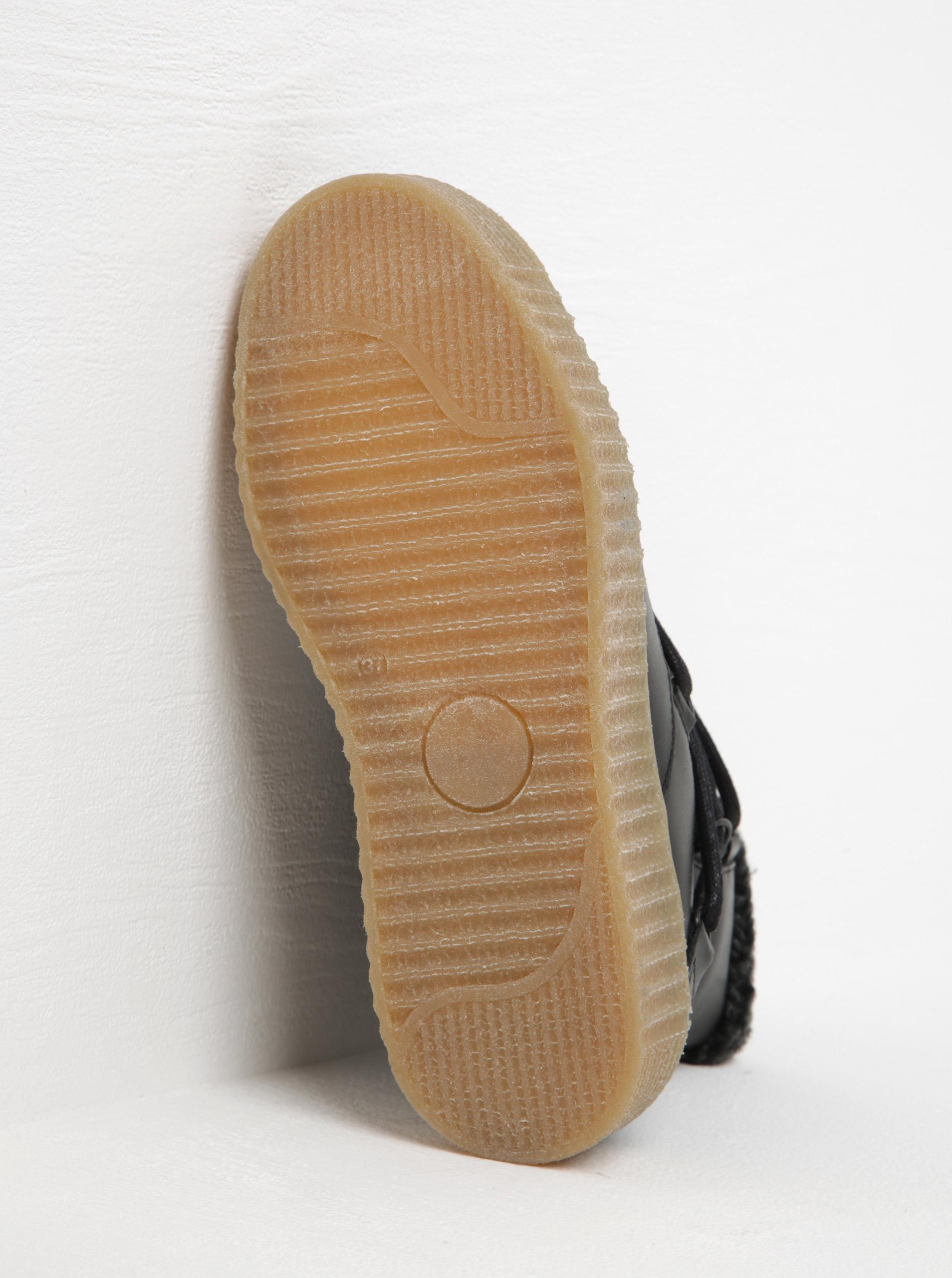 a533b75730a Černé zimní kožené kotníkové boty s kožíškem Pieces Paccia ...