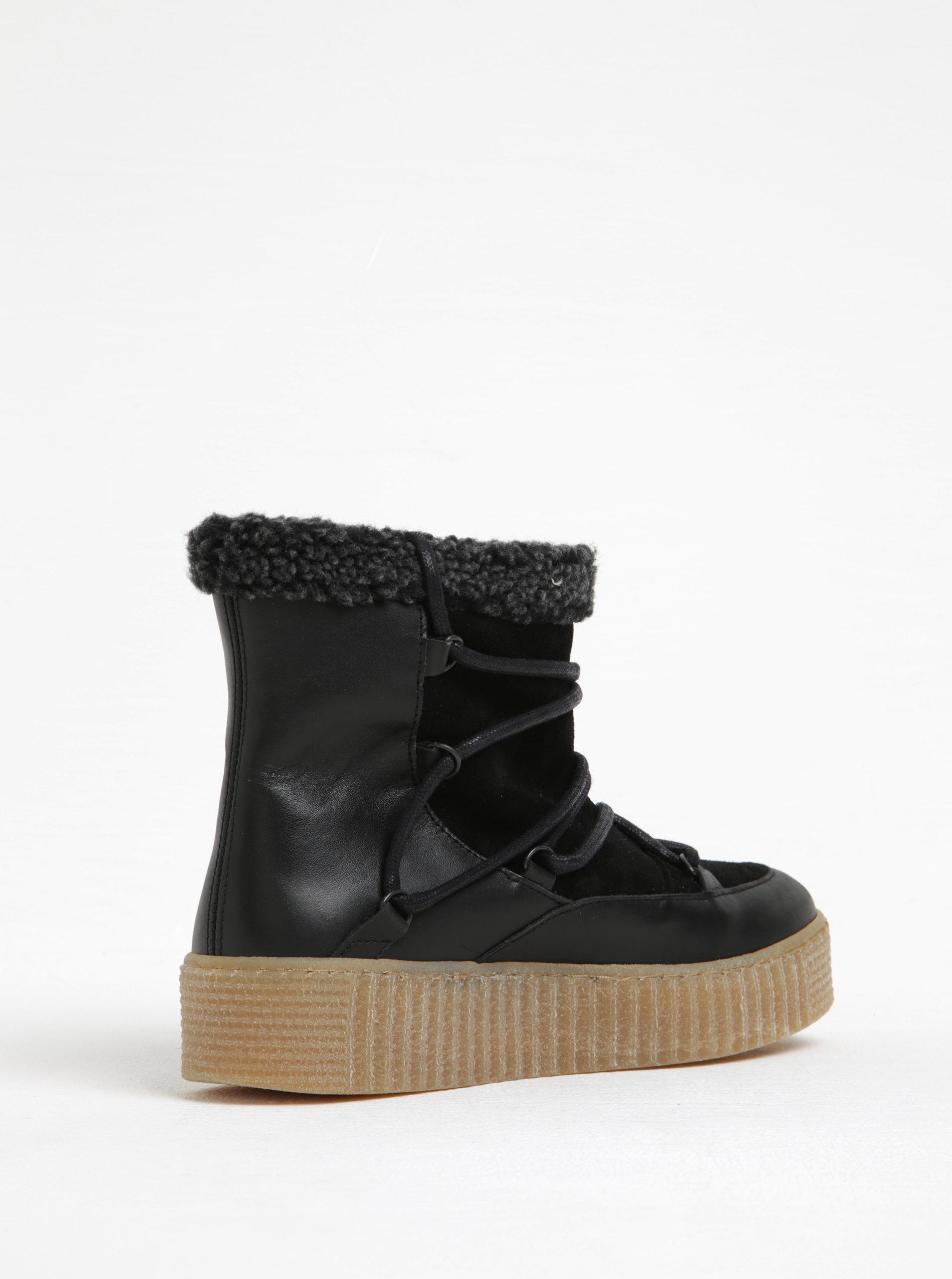 Černé zimní kožené kotníkové boty s kožíškem Pieces Paccia ... 4374427757