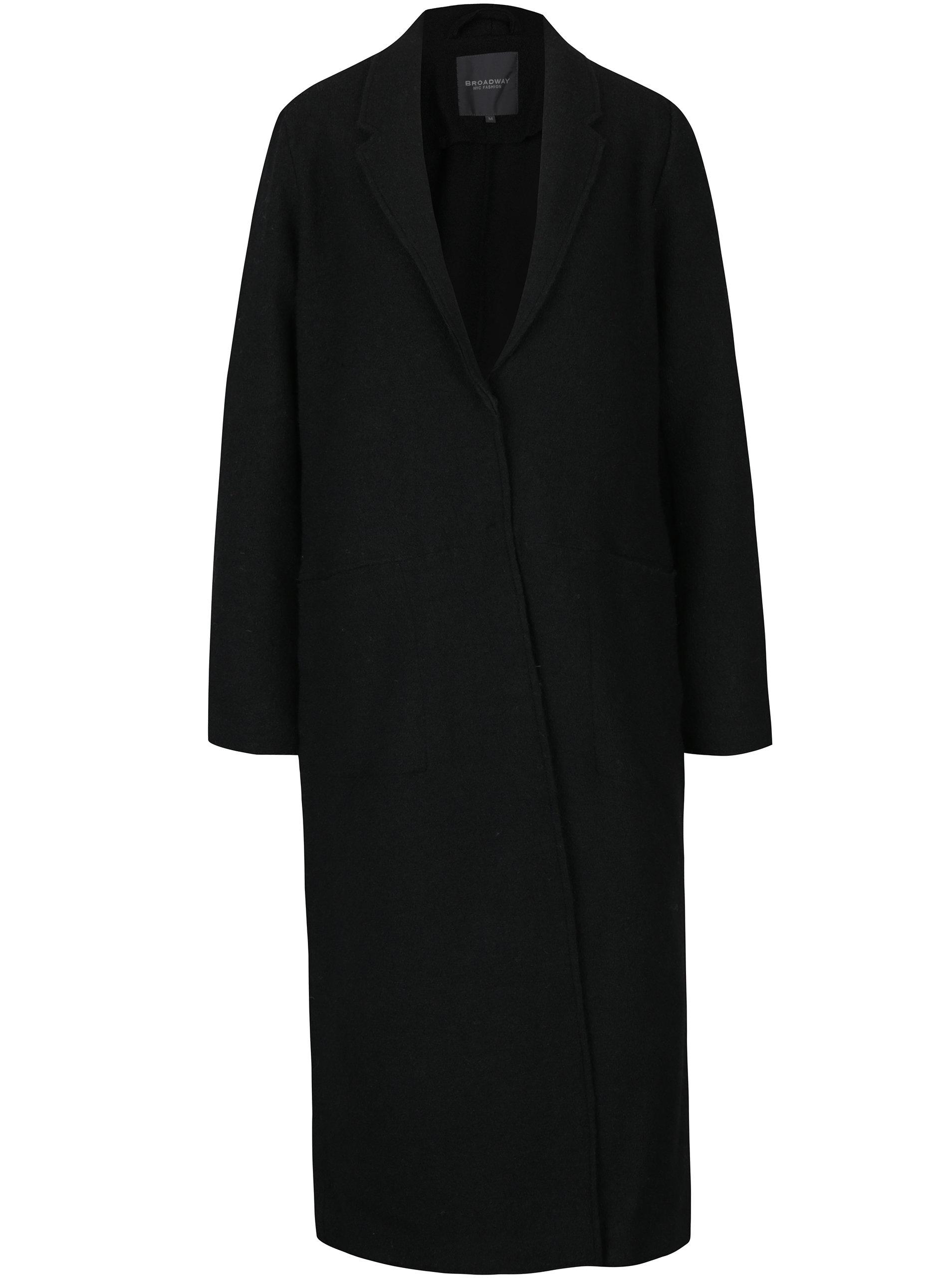 Černý dámský dlouhý vlněný kabát Broadway Malea ... 63538ab302b
