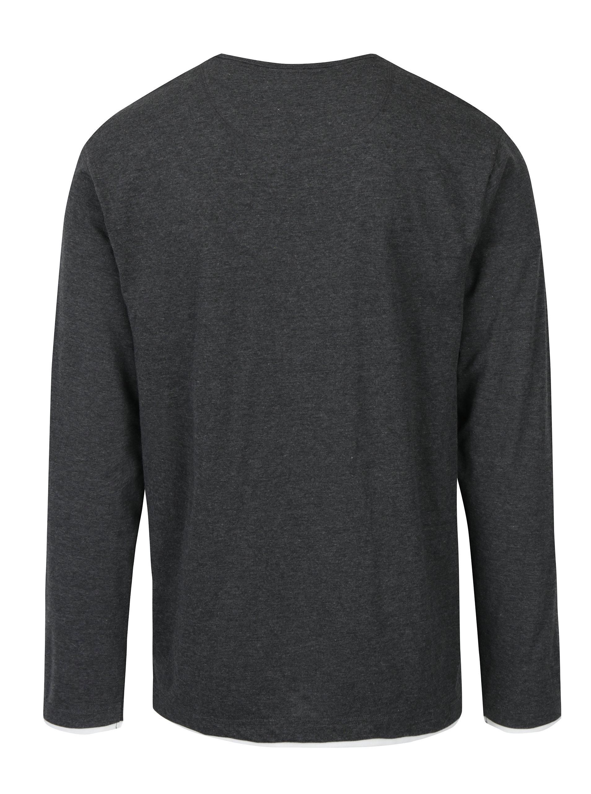6be87c7a19 Tmavosivé melírované pánske tričko s dlhým rukávom Broadway Orvadia ...