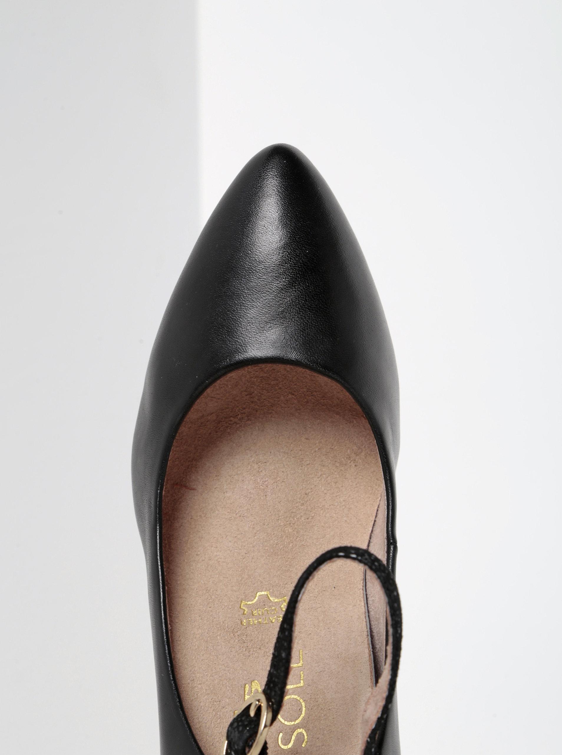 Černé kožené lodičky s páskem a semišovými detaily Tamaris ... b20edd7d72