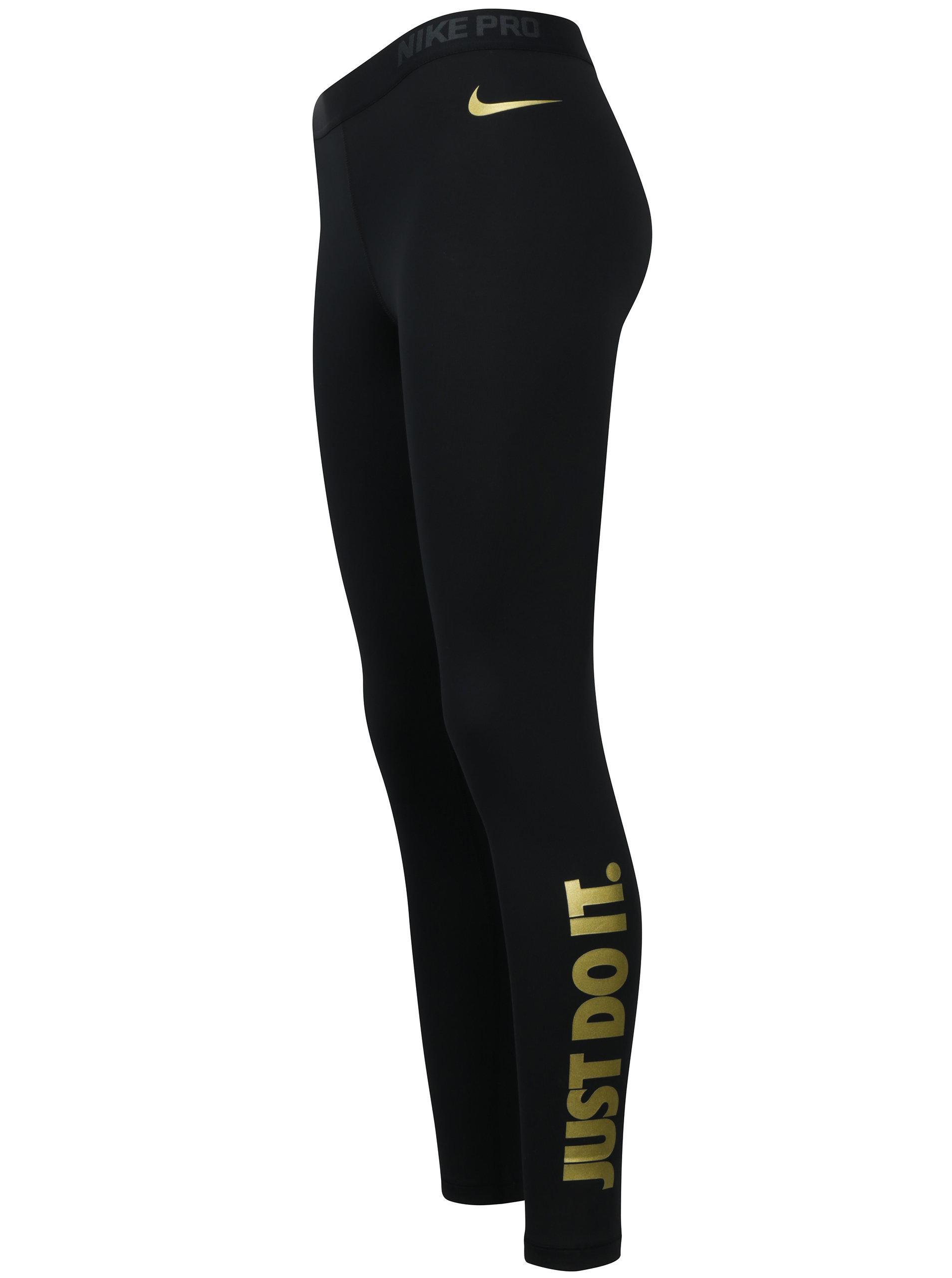 Černé dámské funkční legíny s potiskem ve zlaté barvě Nike ... eb5b736e18