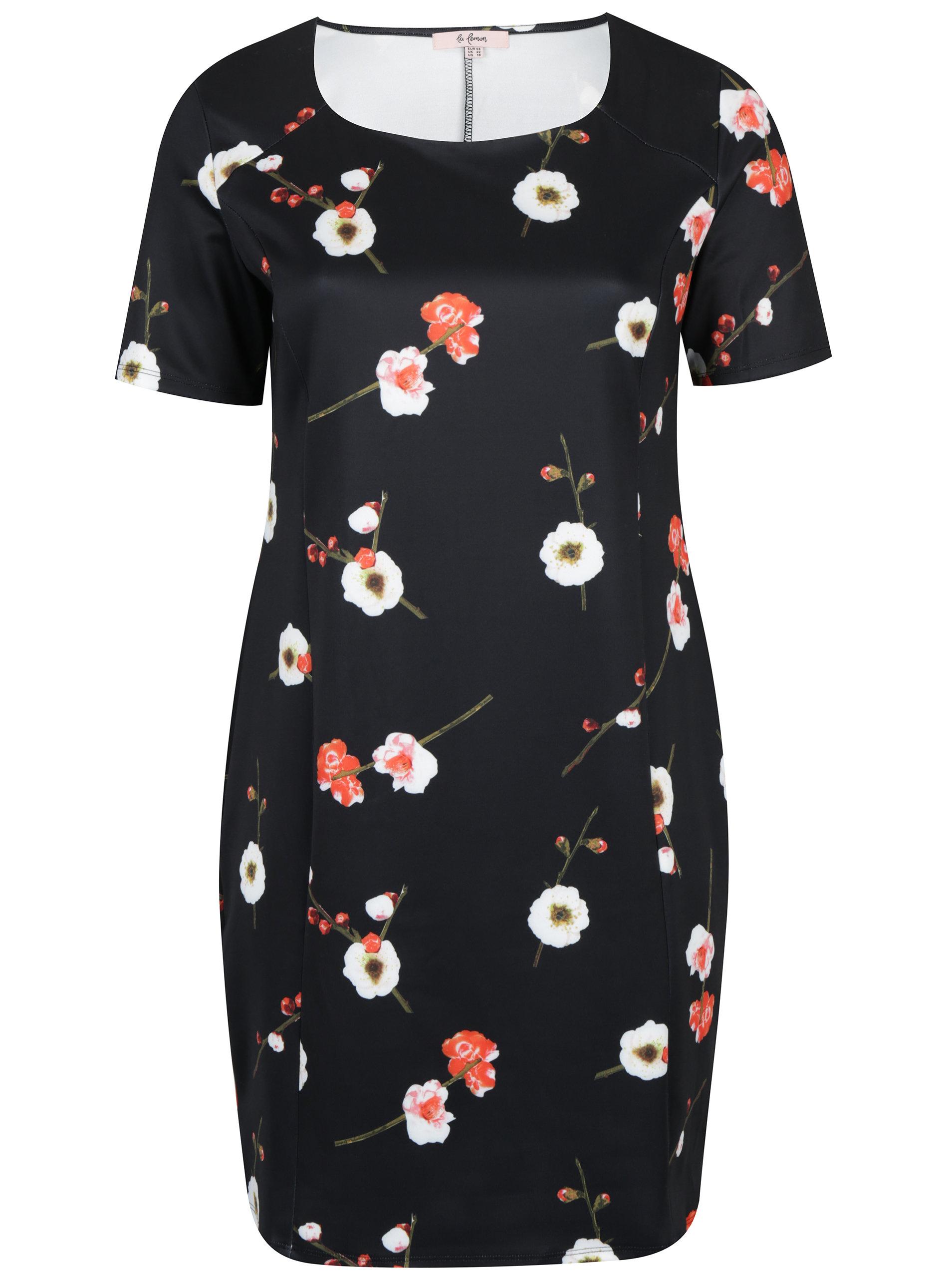 a76b4714363c Čierne kvetinové puzdrové šaty LA Lemon ...