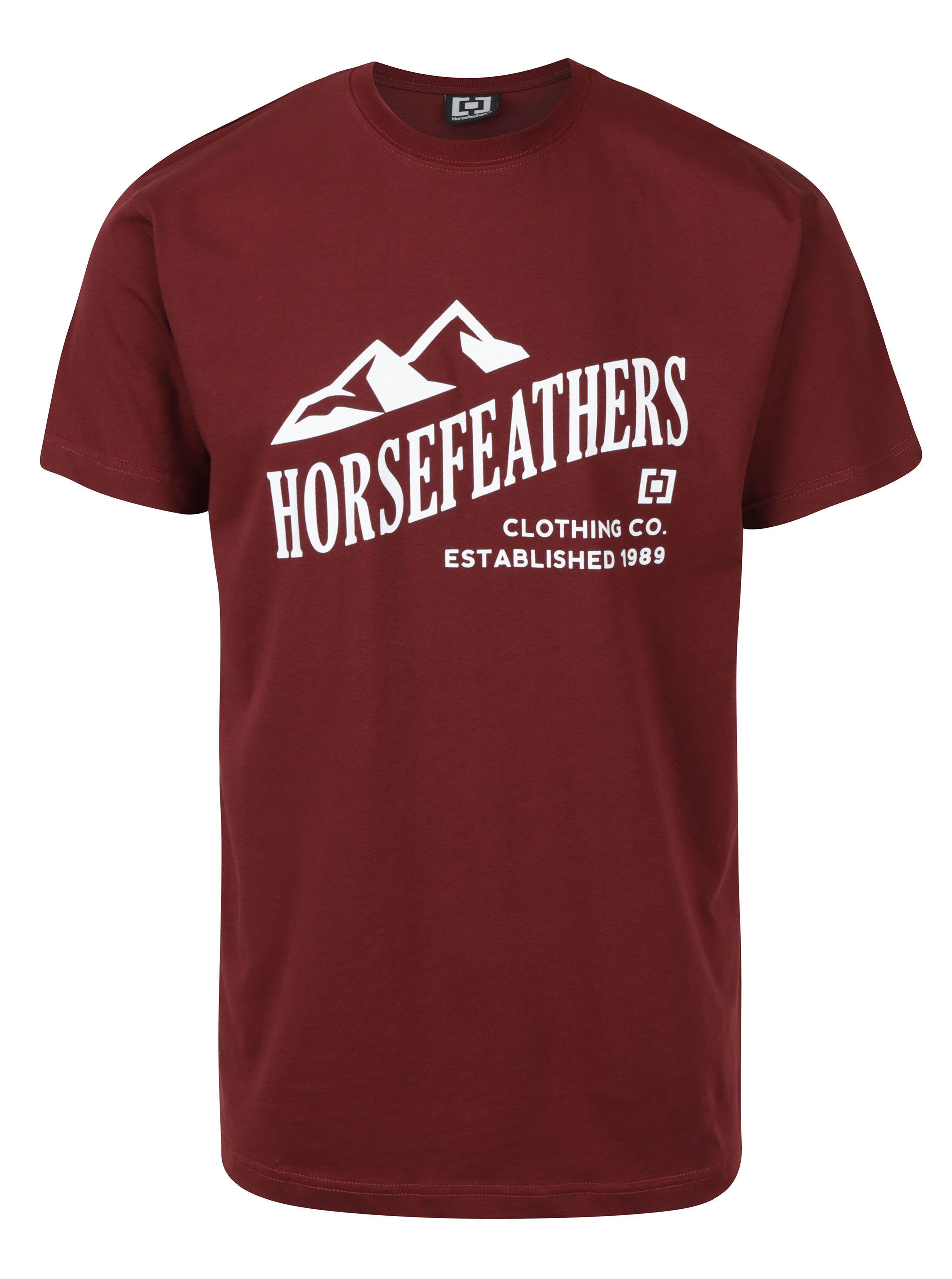 07016852913c Vínové pánske tričko s krátkym rukávom a potlačou Horsefeathers Ripple ...