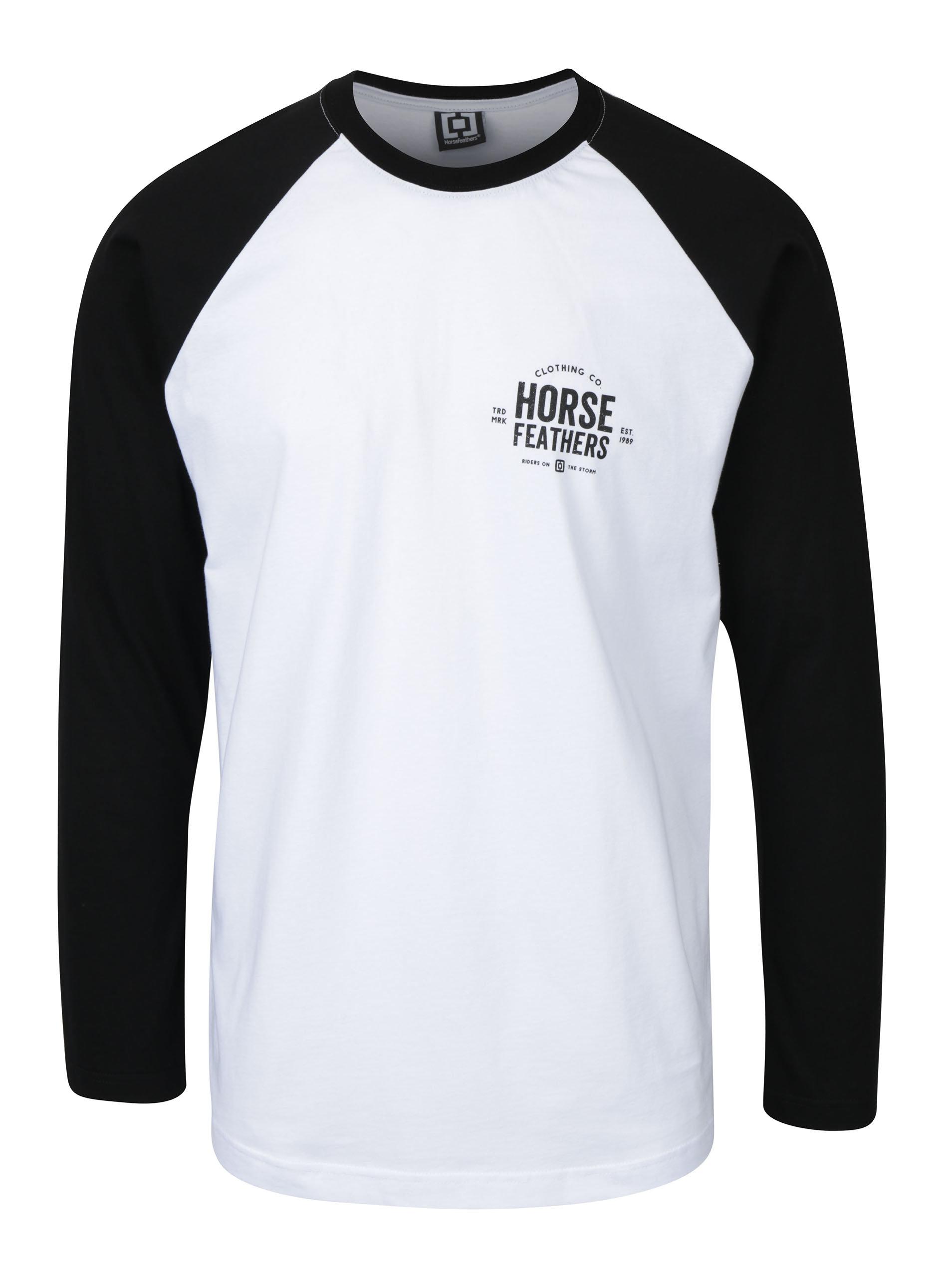 0536abfe3b6a Čierno-biele pánske tričko s dlhým rukávom a potlačou Horsefeathers Tribe  ...