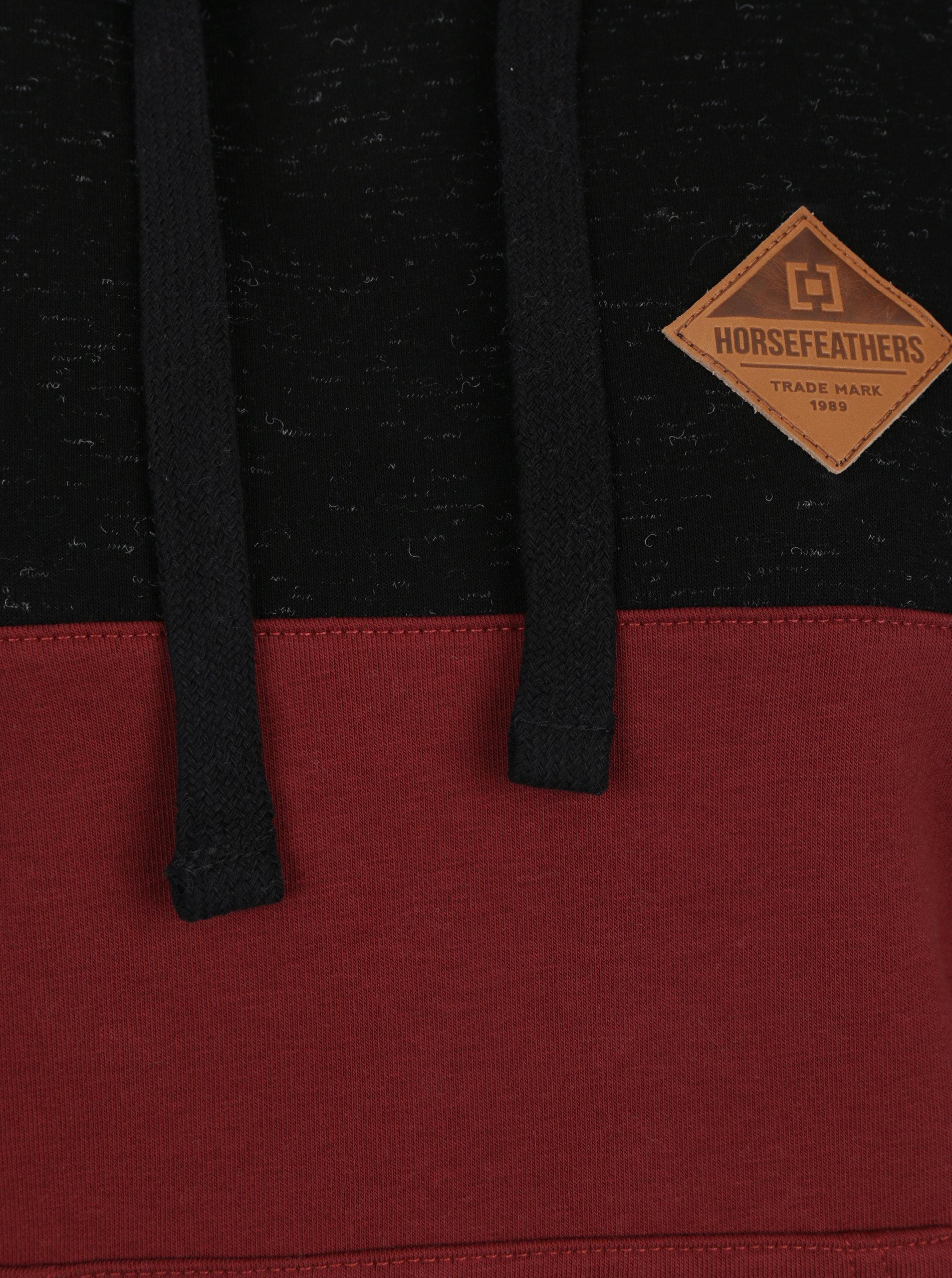 40724b02d96 Černo-vínová dámská mikina s kapucí Horsefeathers Deni ...