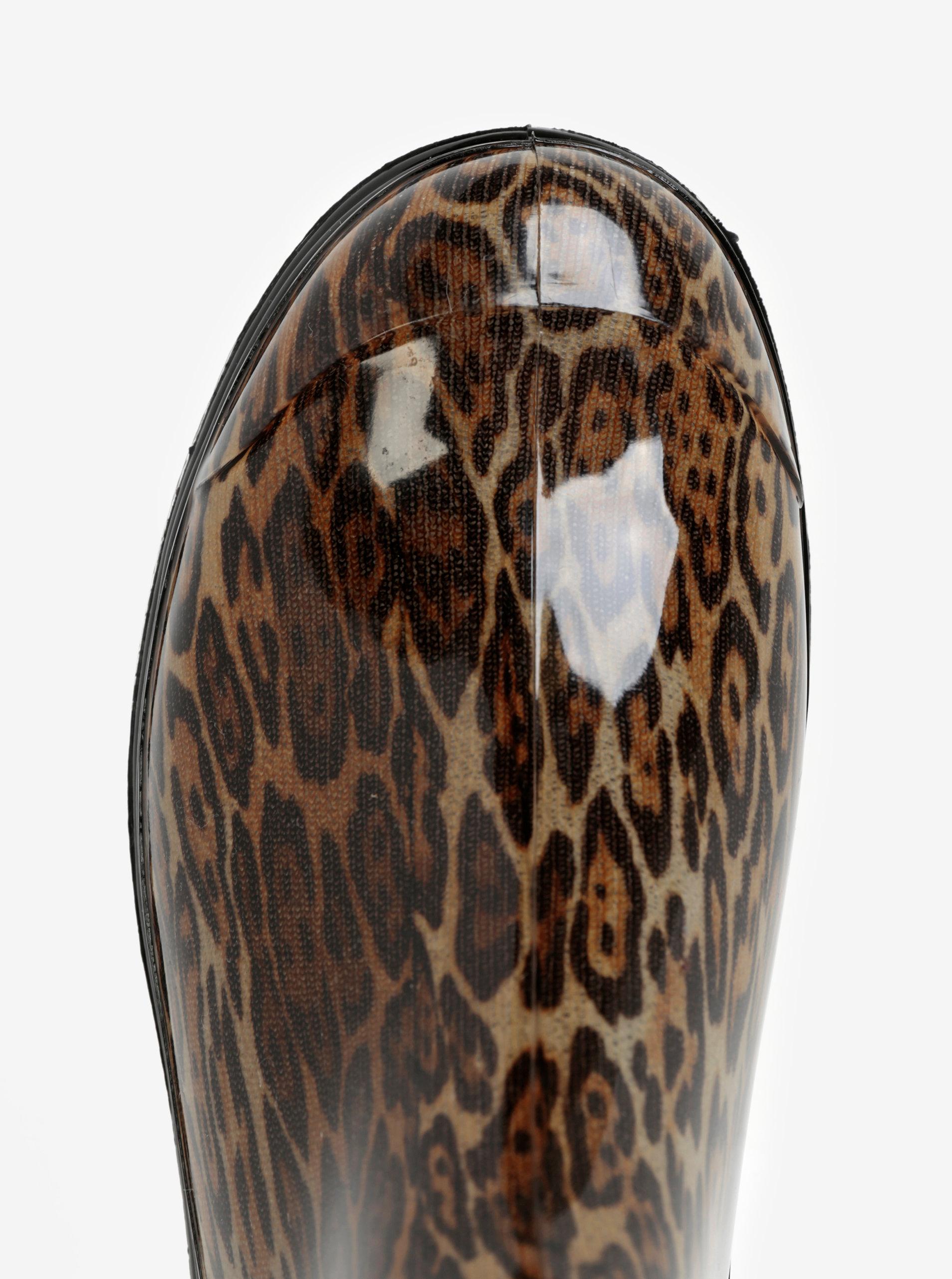 10d1578caf Hnedé dámske gumáky s leopardím vzorom Oldcom Rain ...