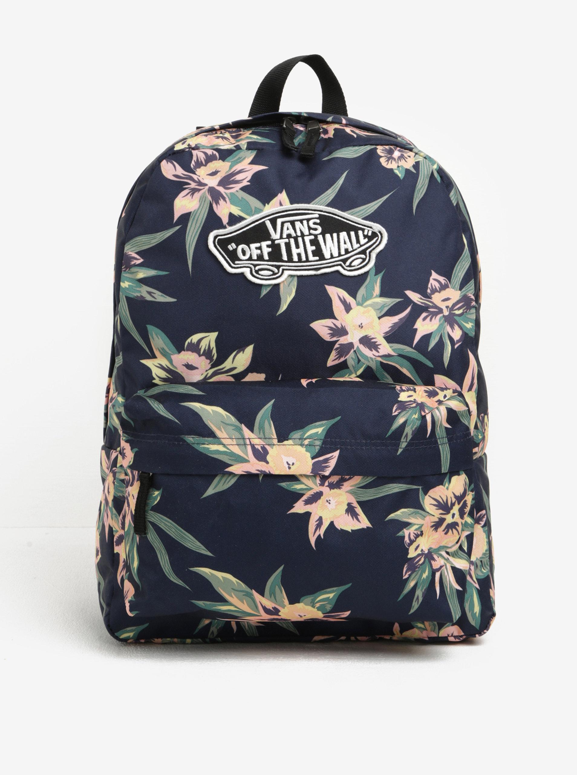 Tmavě modrý dámský květovaný batoh VANS Realm 22 l ... 219c95b391