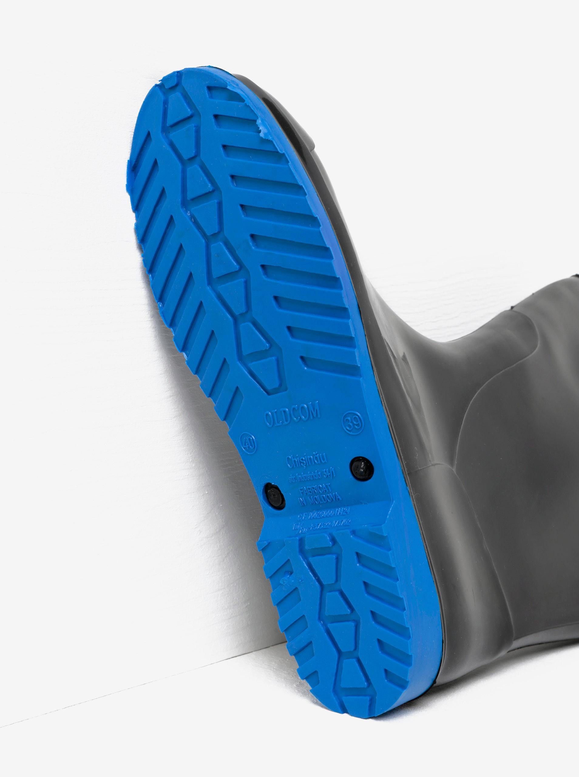 4d8479cb08b9 Čierne dámske gumáky s podrážkou v modrej farbe Oldcom Accent ...