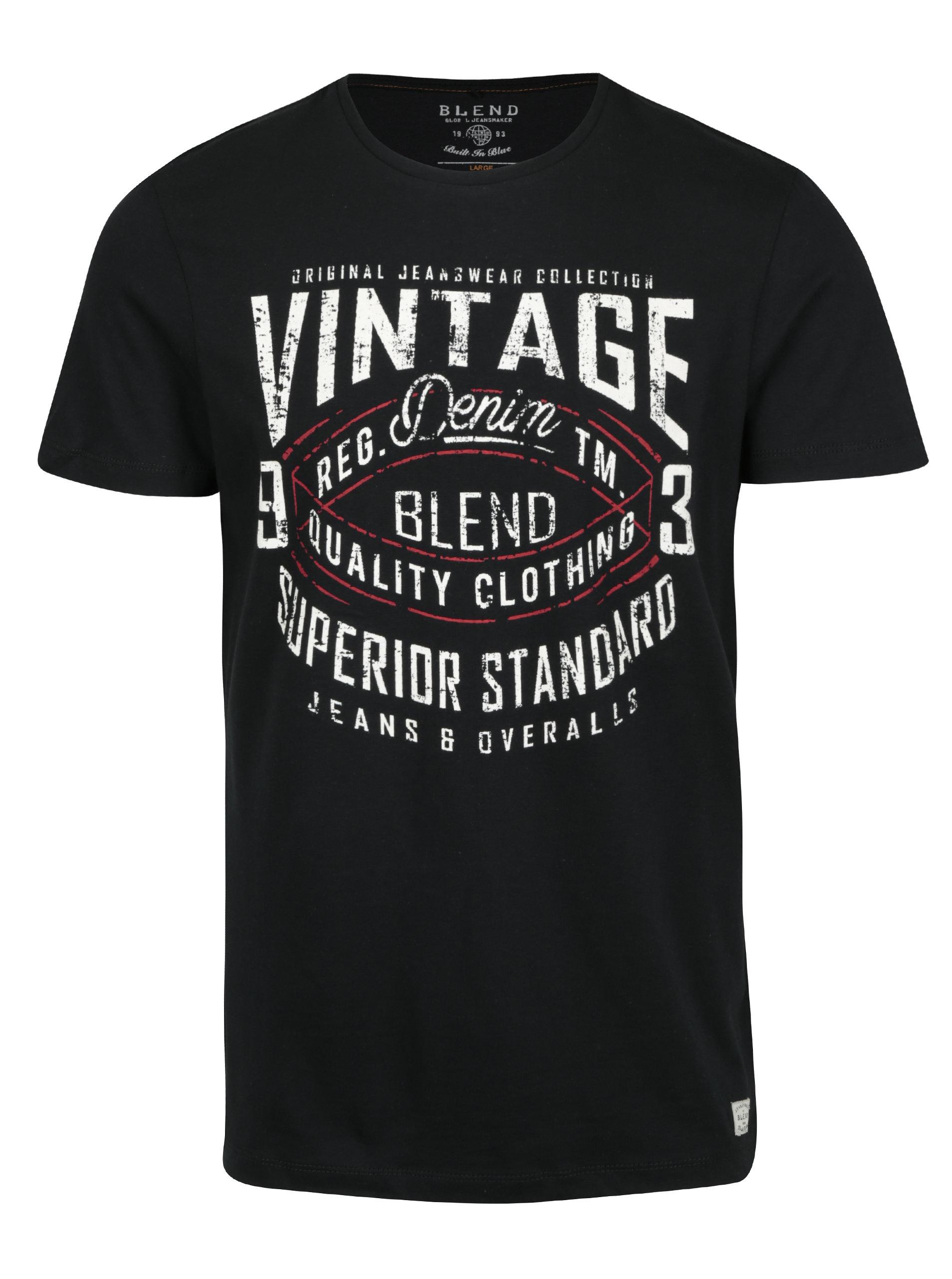Černé pánské slim fit tričko s potiskem a krátkým rukávem Blend ... 3fcf659790