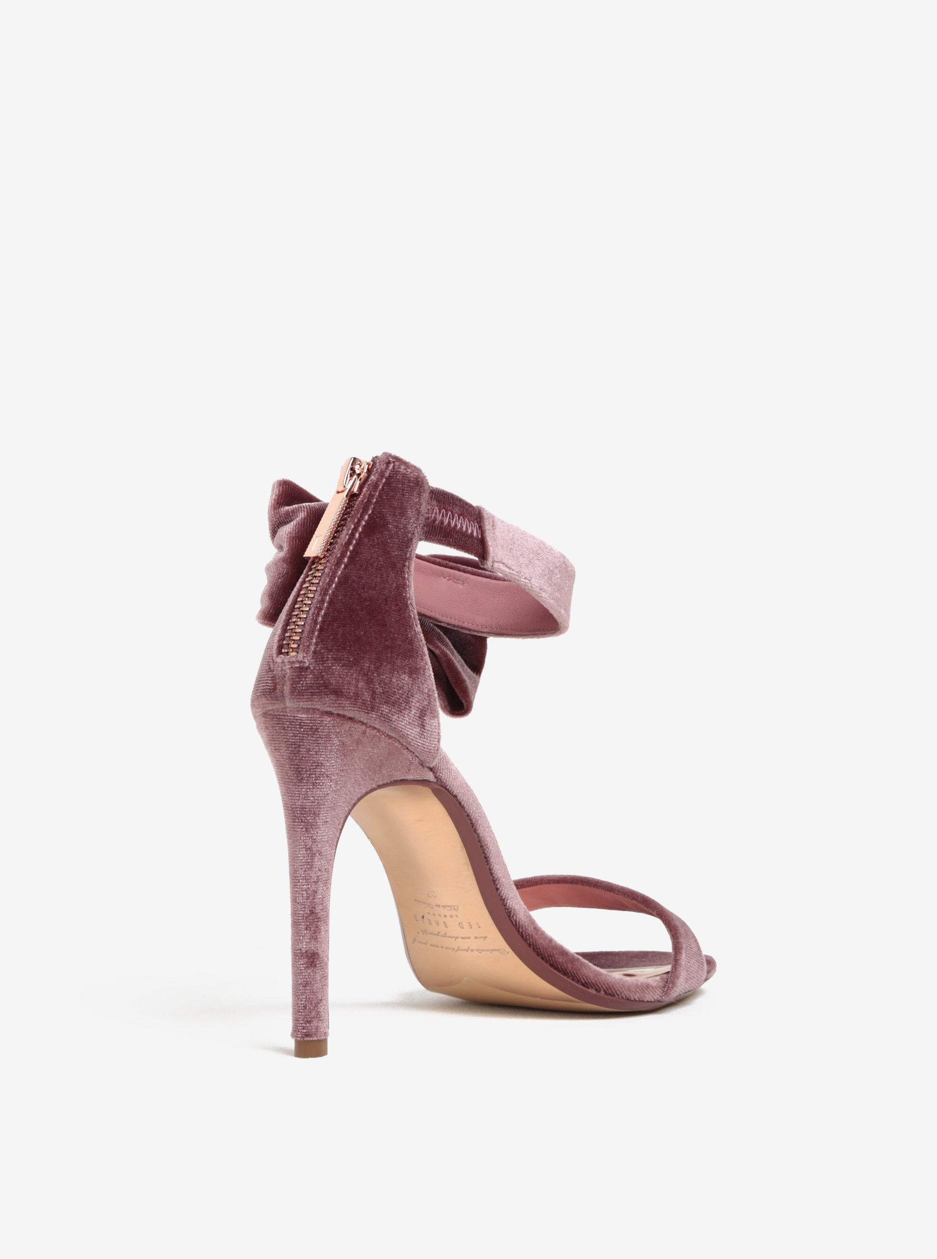 29dde57d6396 Růžové sametové sandálky na podpatku s mašlí Ted Baker Torabel ...