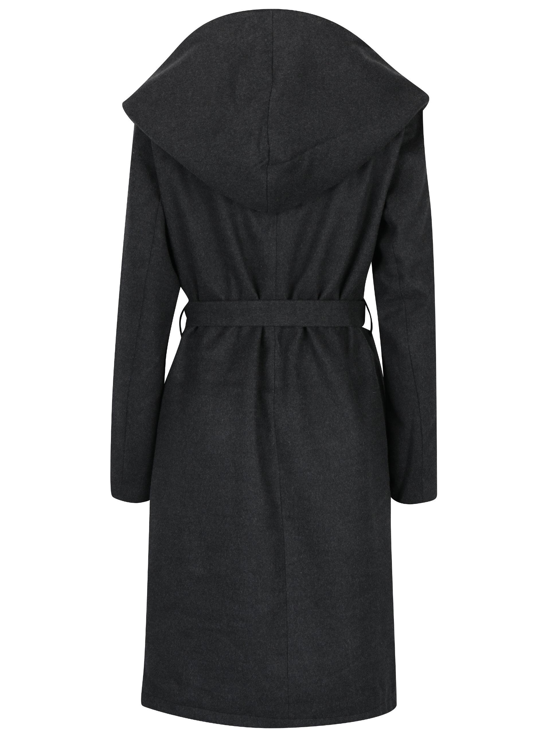 6803f3efa8 Tmavě šedý kabát s kapucí ONLY Phoebe ...