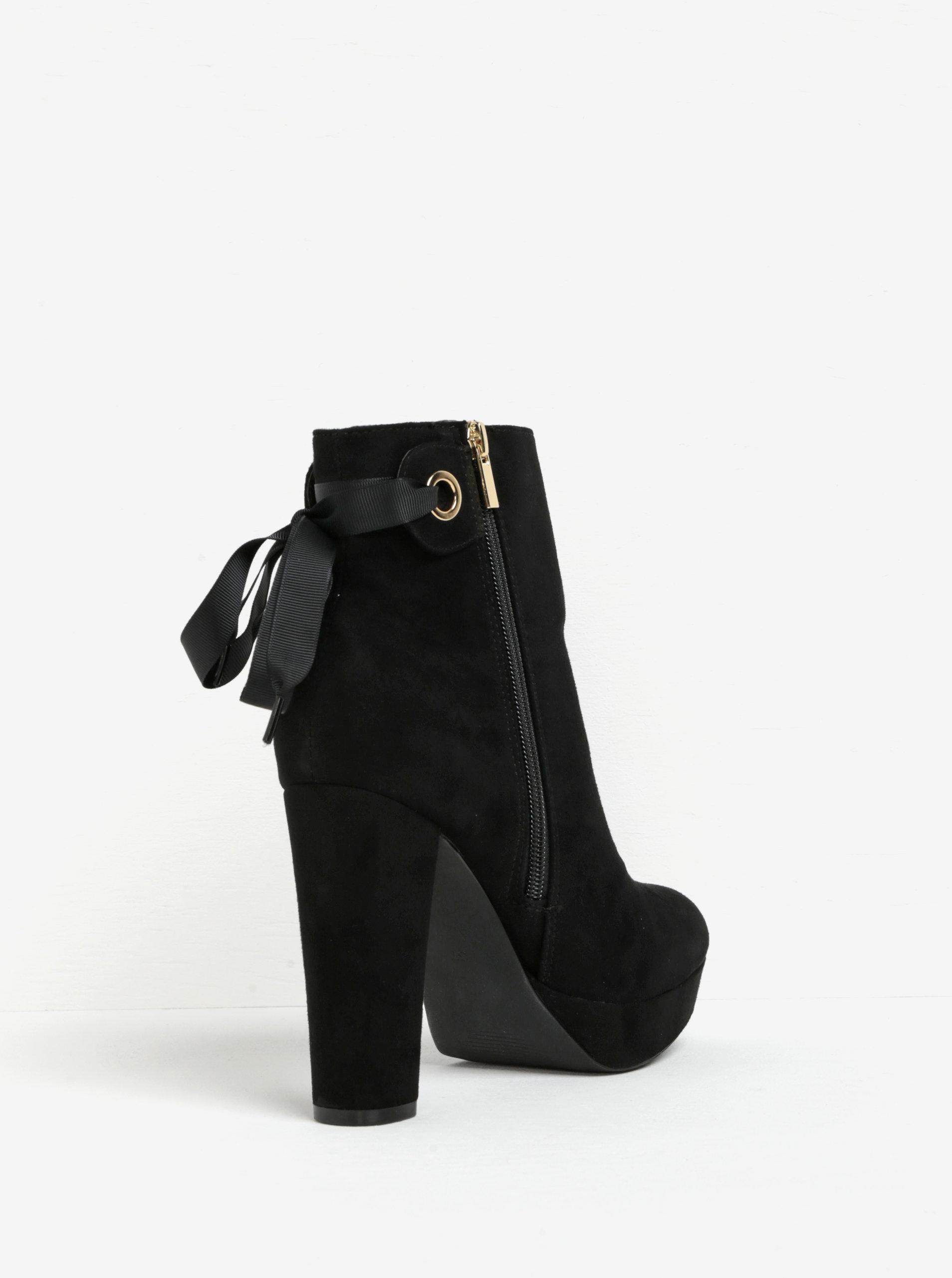 b8c71c9339fd Čierne členkové topánky na podpätku a platforme v semišovej úprave Miss KG  Sheree ...