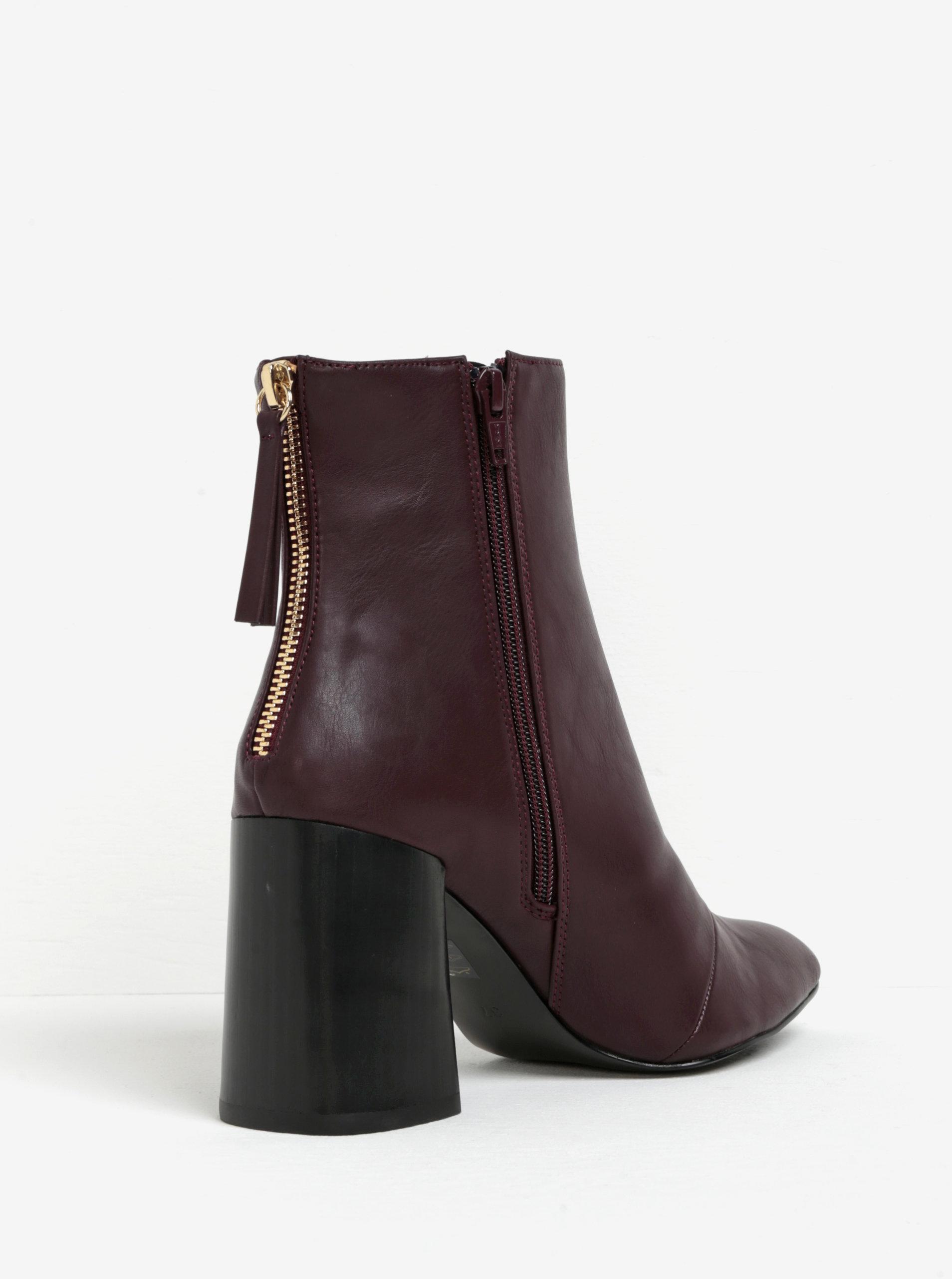 Vínové kotníkové boty na širokém podpatku Miss KG Secret ... 1a2b0f5418