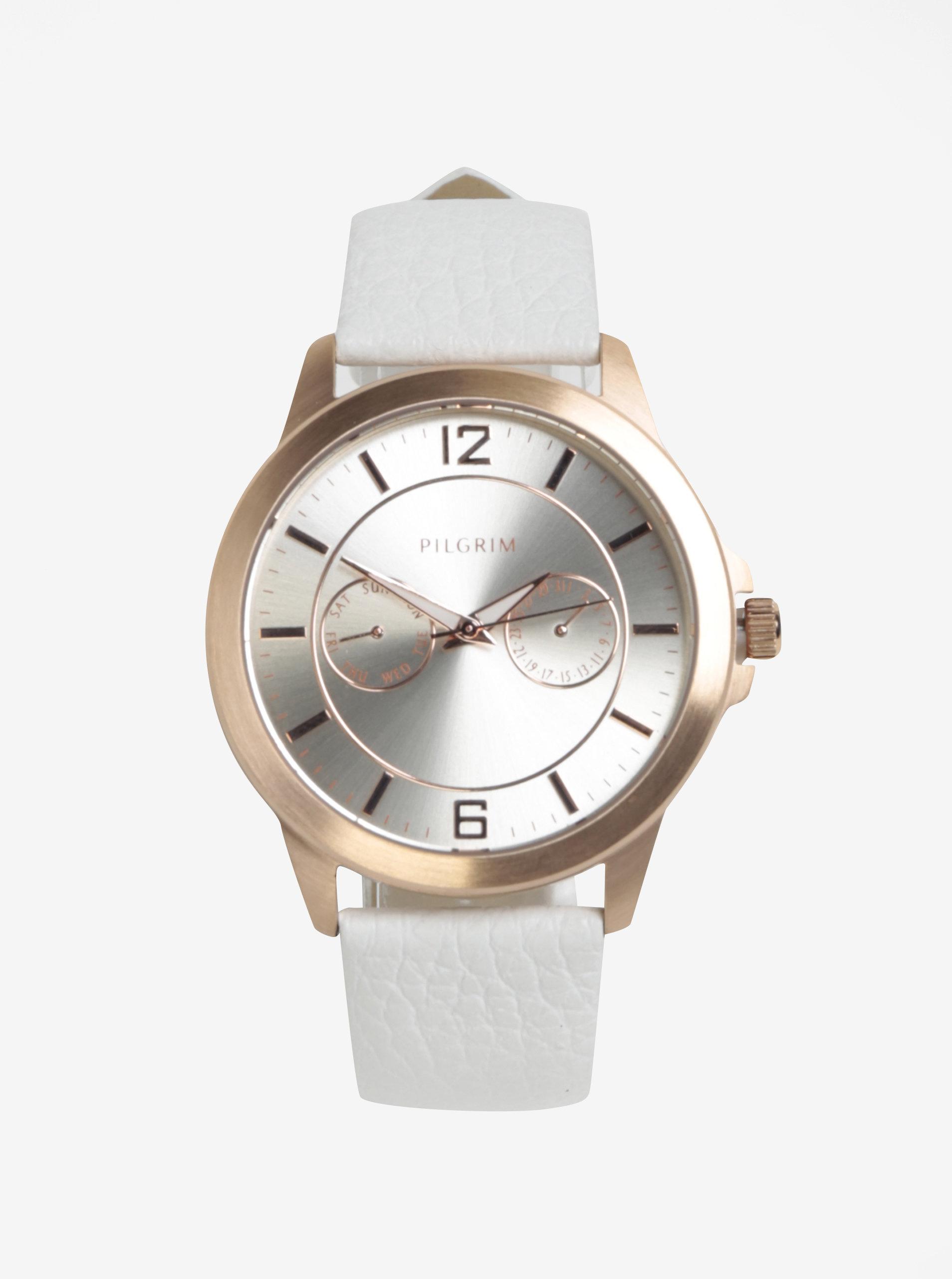 233e656e107 Pozlacené hodinky v růžovozlaté barvě s bílým koženým páskem Pilgrim ...