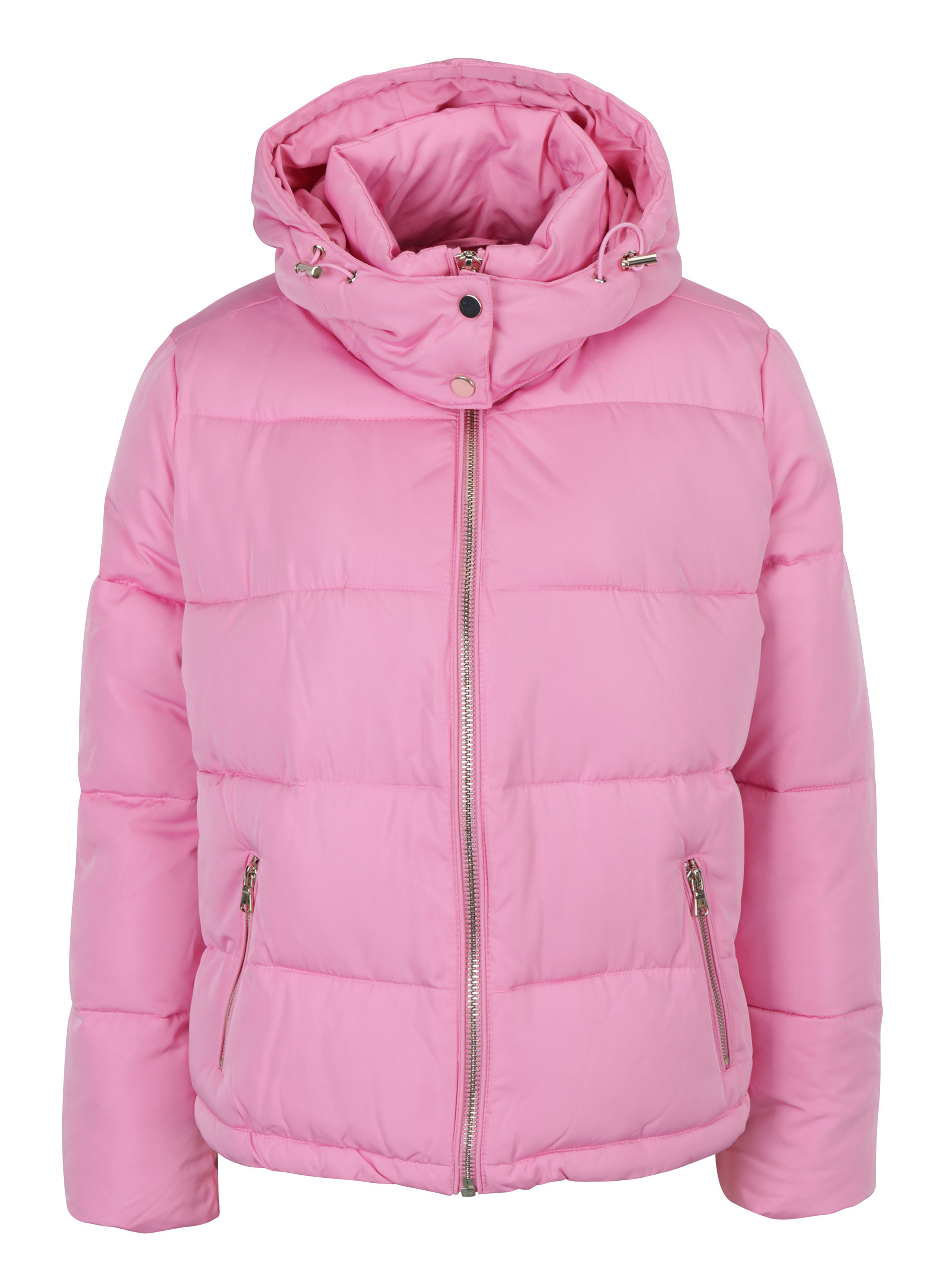 Ružová prešívaná bunda s kapucňou Miss Selfridge ... 76d726251a3