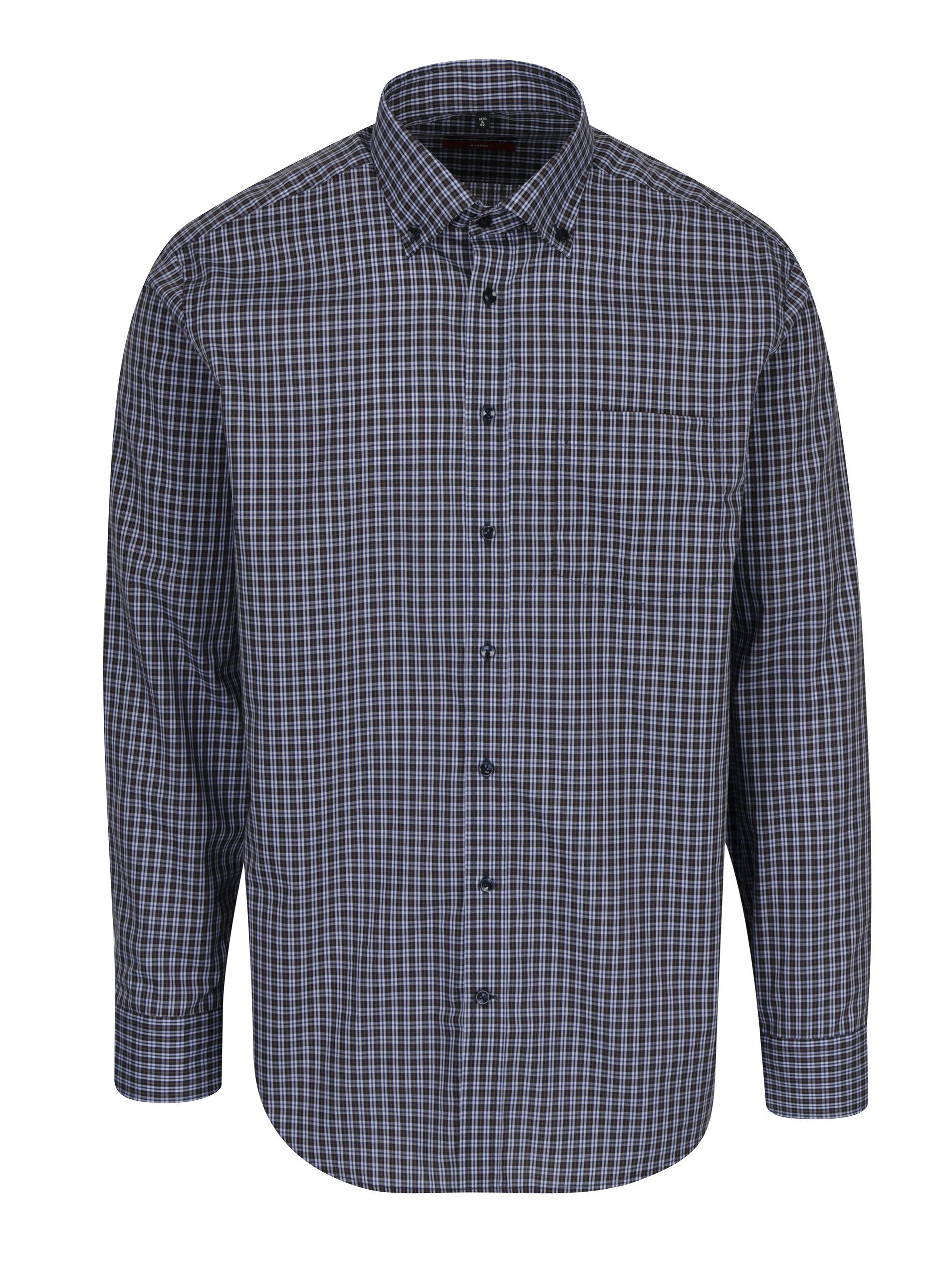 8454f306c489 Tmavomodrá kockovaná modern fit košeľa Seidensticker ...