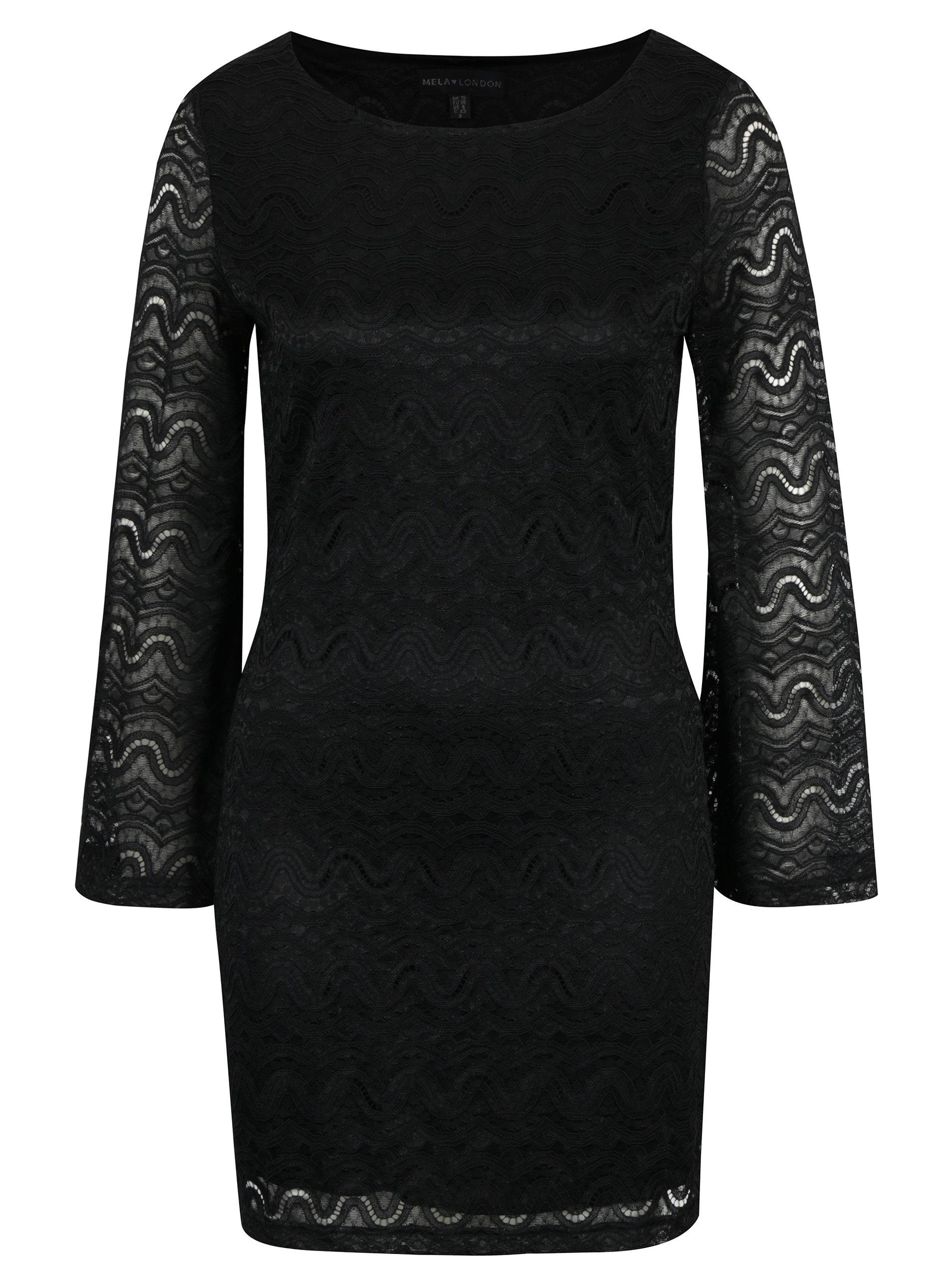 bd5176ed523 Černé pouzdrové krajkové šaty se zvonovými rukávy Mela London ...