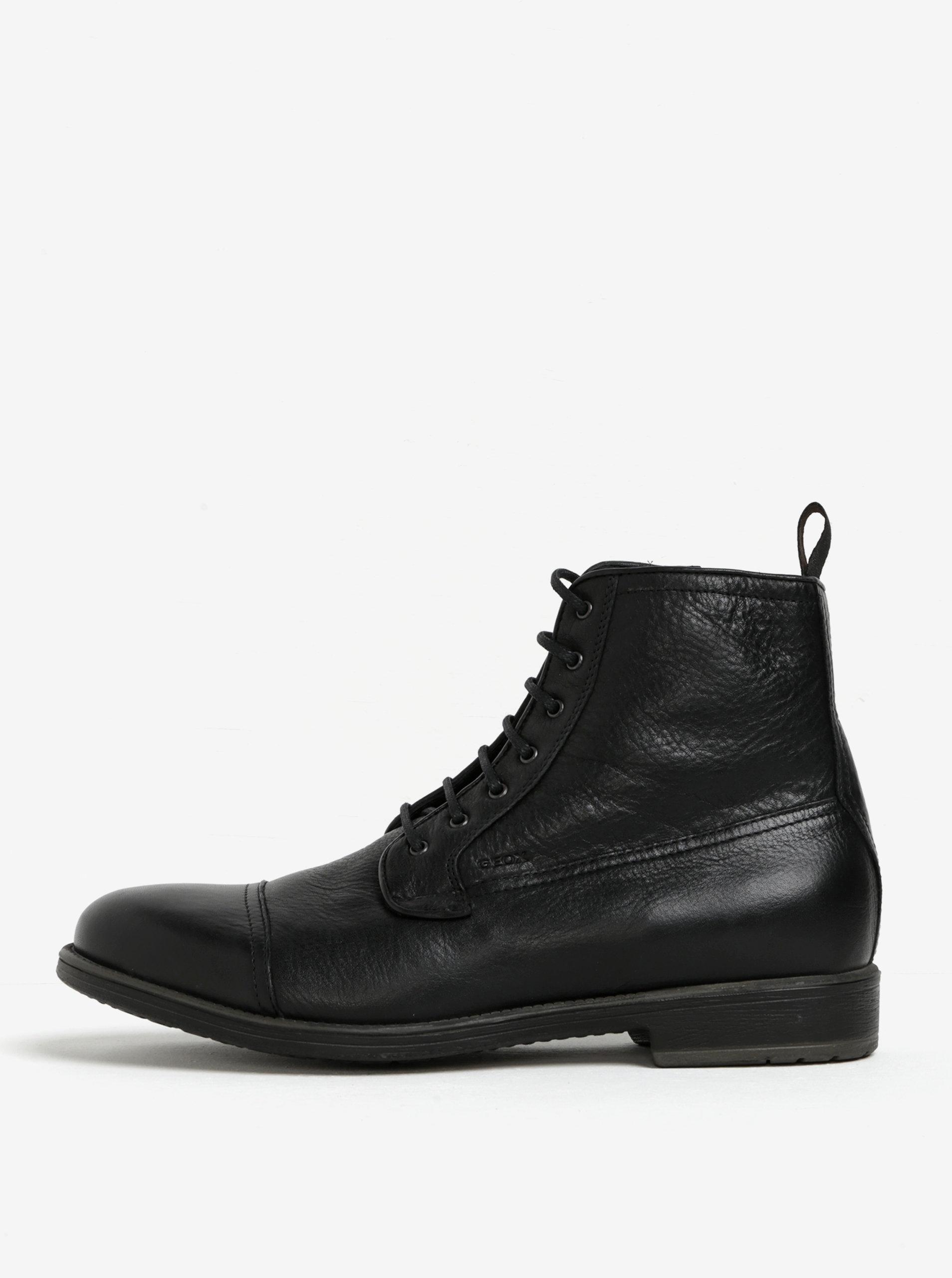 1120ee9628 Čierne pánske zateplené kožené topánky Geox Jaylon ...