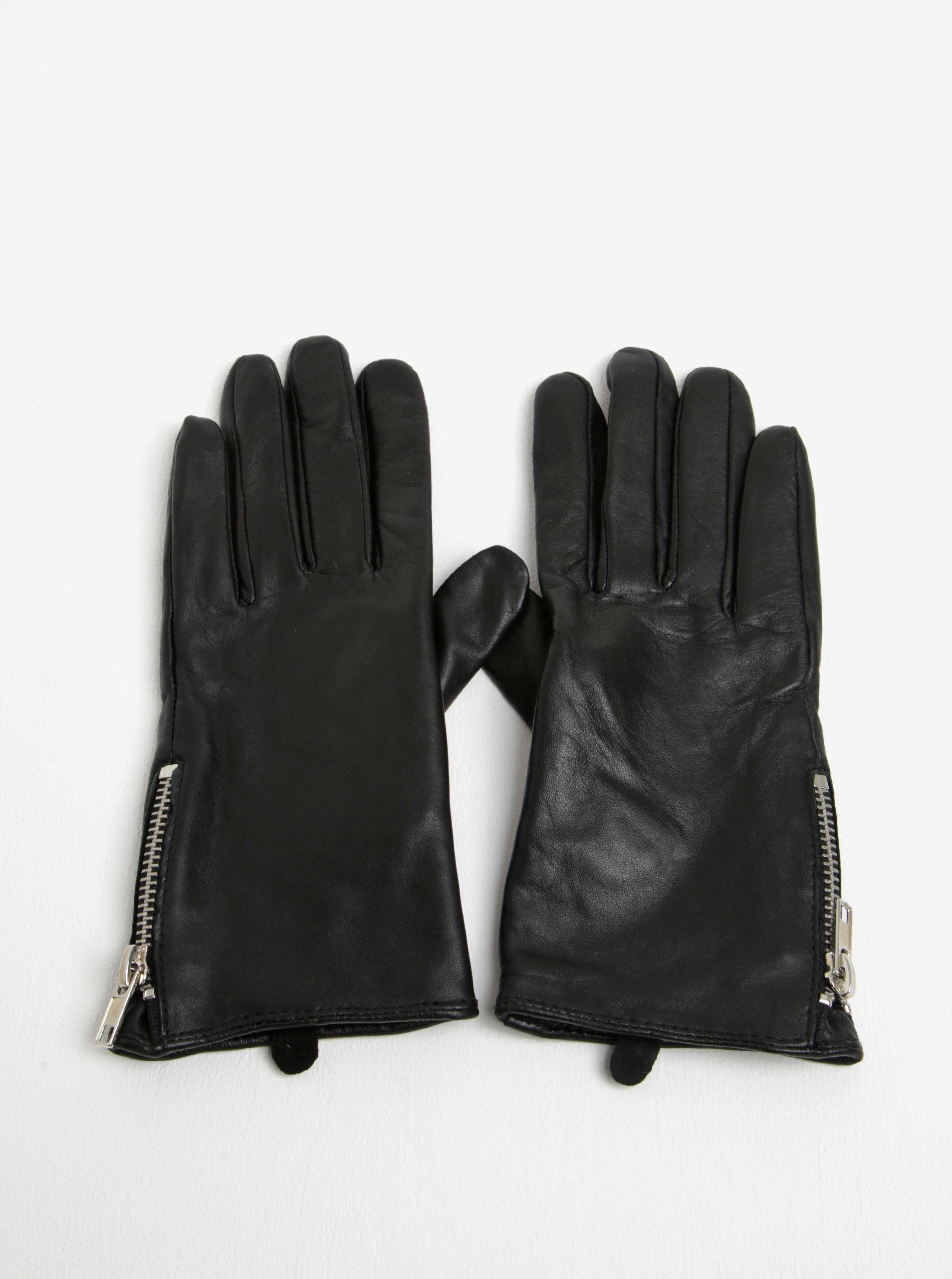 Černé dámské kožené rukavice Pieces Jamista ... a785124ddc