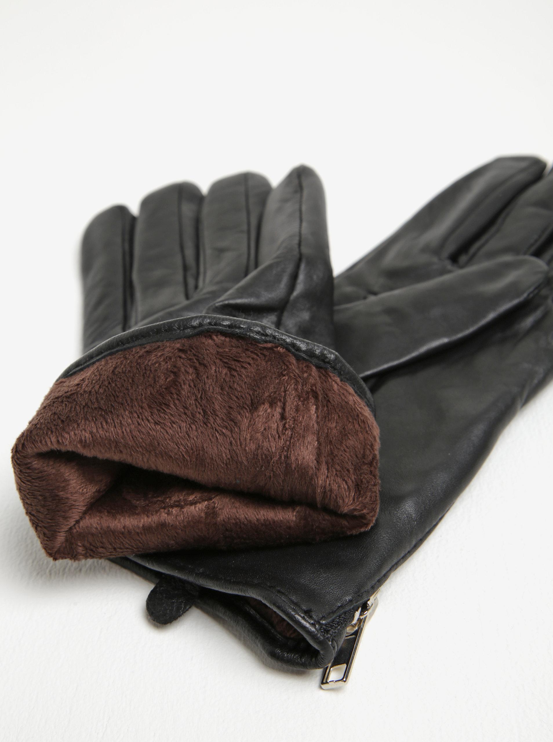 691751c3cc0 Černé dámské kožené rukavice Pieces Jamista ...