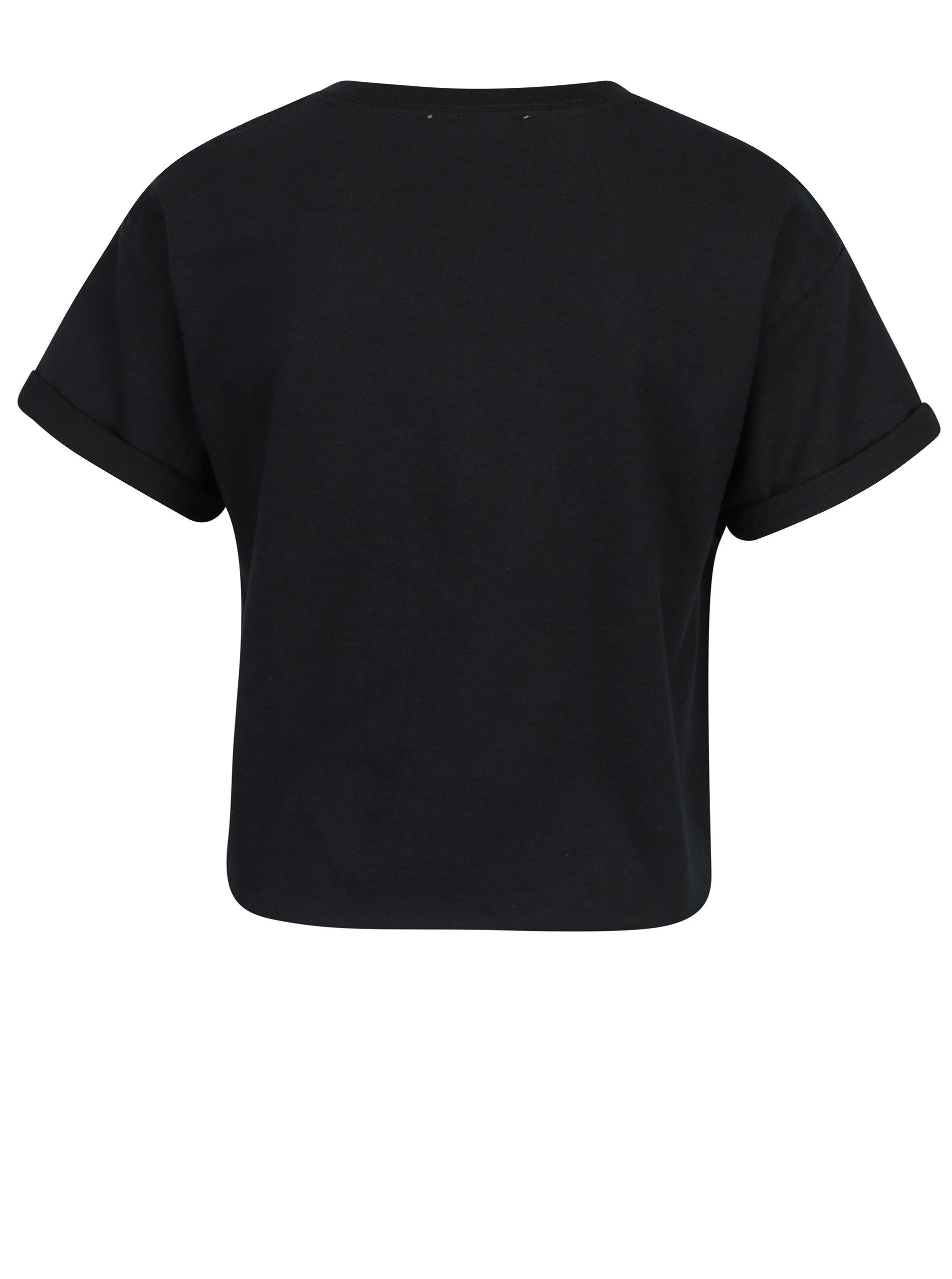 7474c3fac Čierne krátké tričko s krátkym rukávom a potlačou Miss Selfridge Petites ...