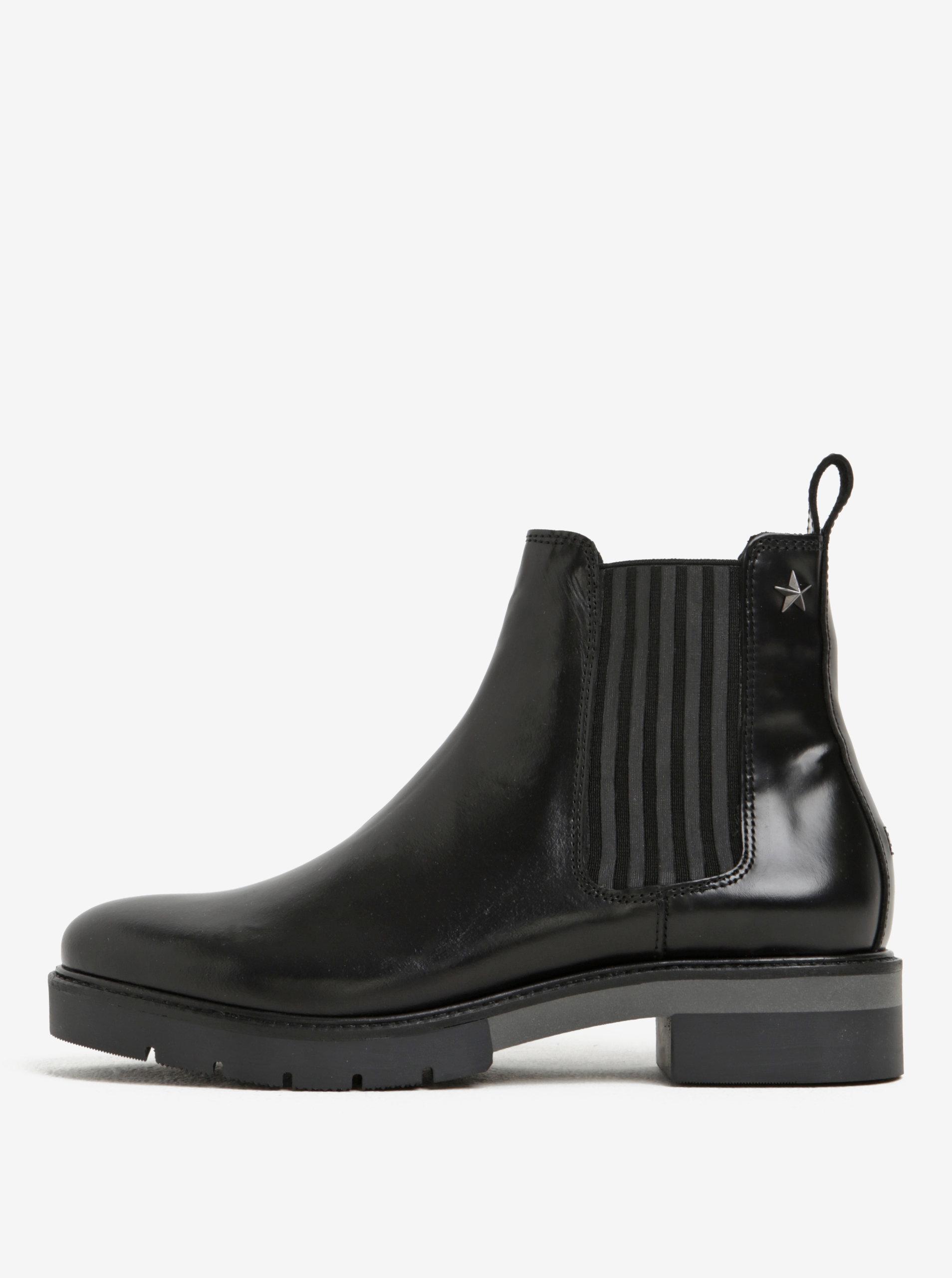 89437780540 Černé dámské kožené chelsea boty Tommy Hilfiger Roxana ...