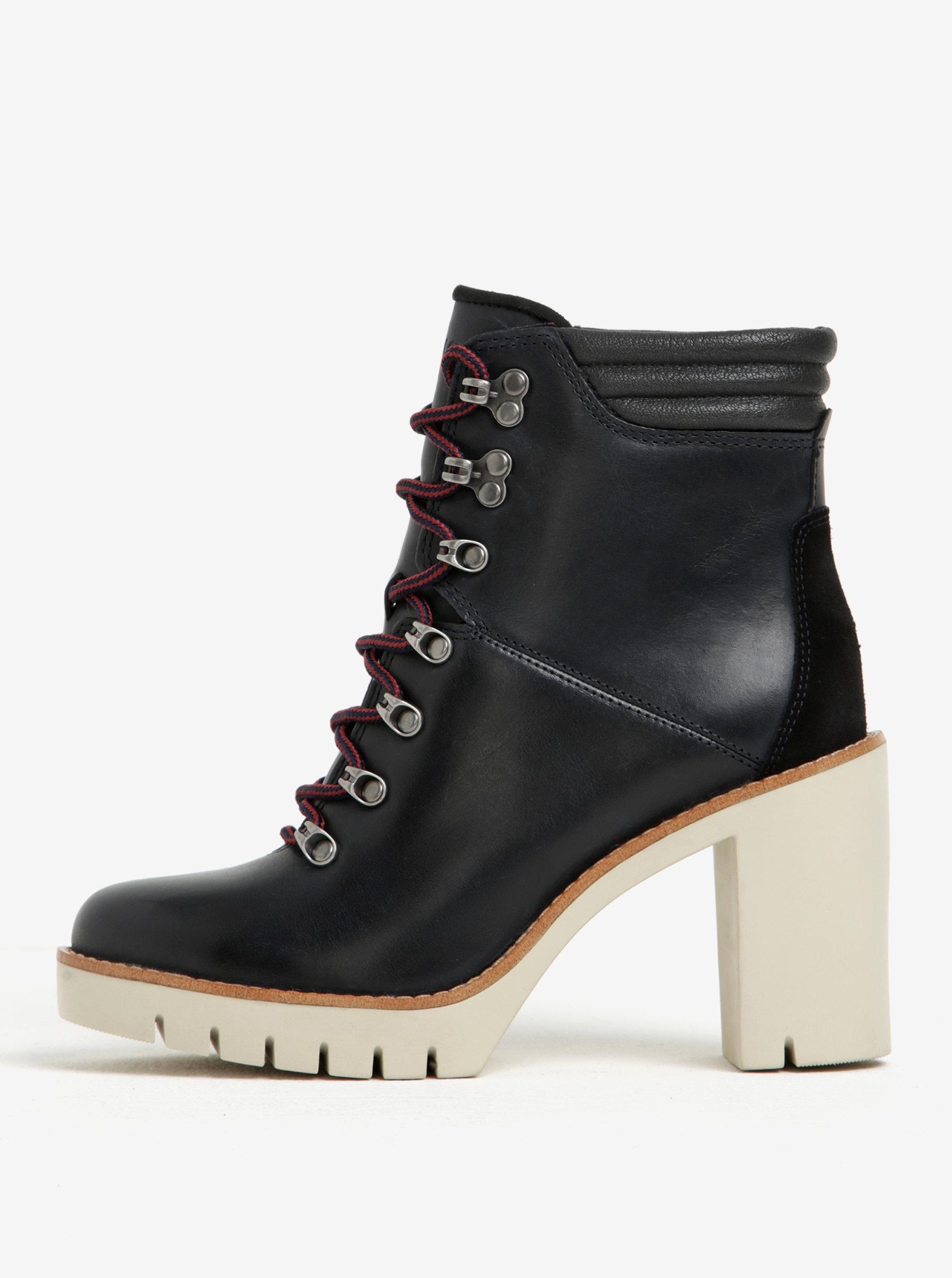 Čierne dámske kožené členkové topánky na vysokom podpätku Tommy Hilfiger  Paola ... 452d6b80b82